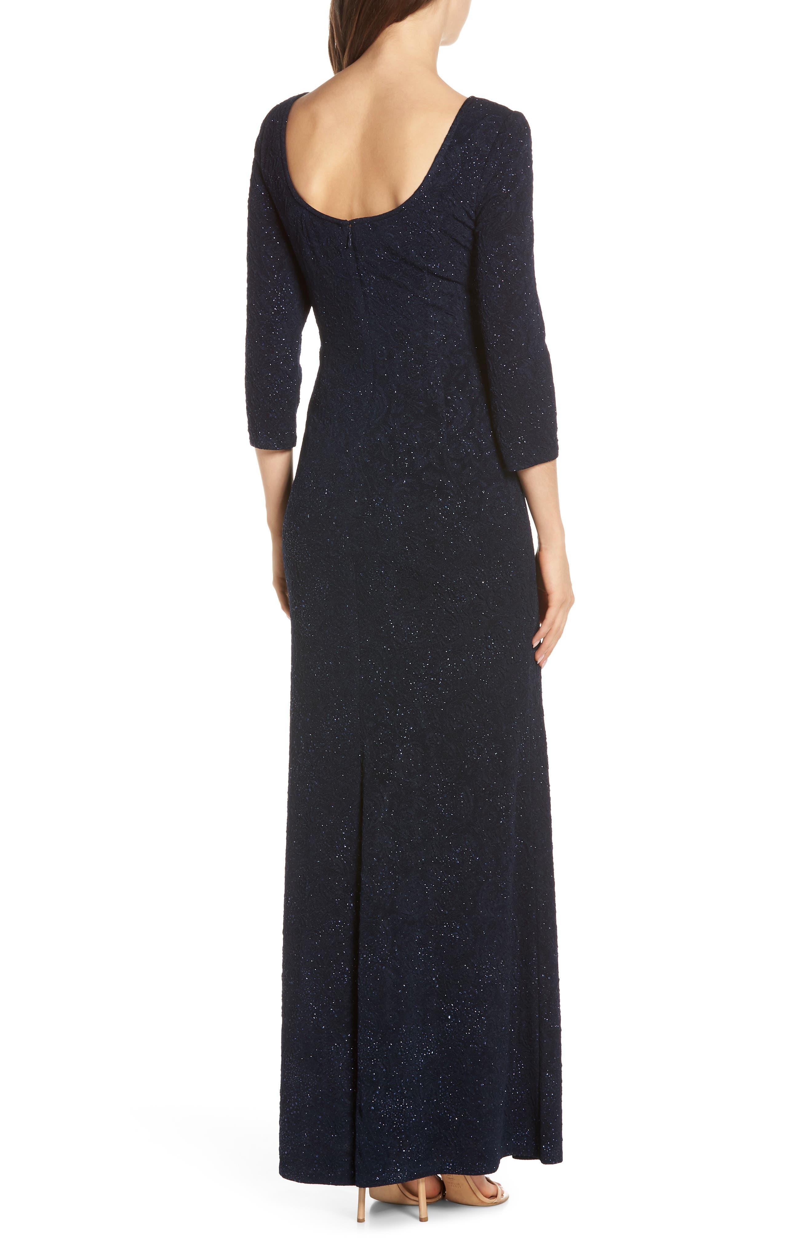 ALEX EVENINGS, Knot Front Sequin Jacquard Evening Dress, Alternate thumbnail 2, color, NAVY