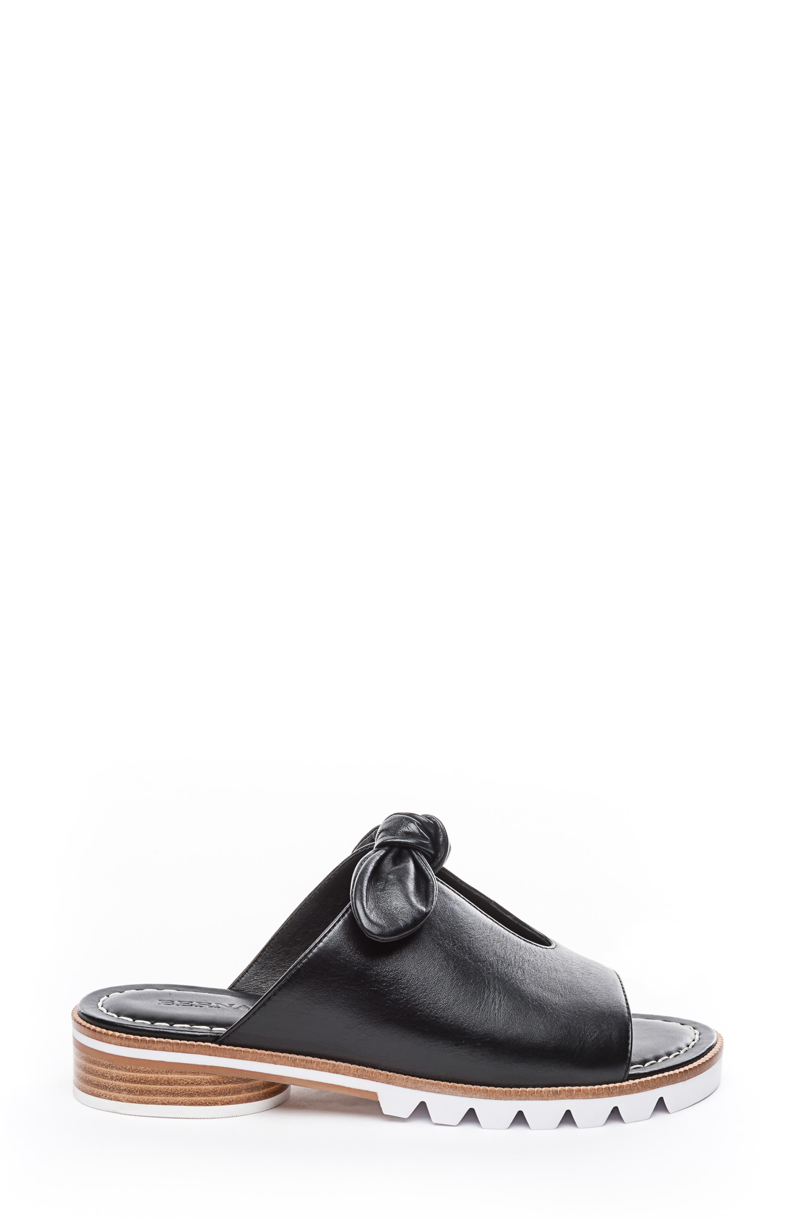 BERNARDO, Alice Bow Slide Sandal, Alternate thumbnail 3, color, BLACK LEATHER