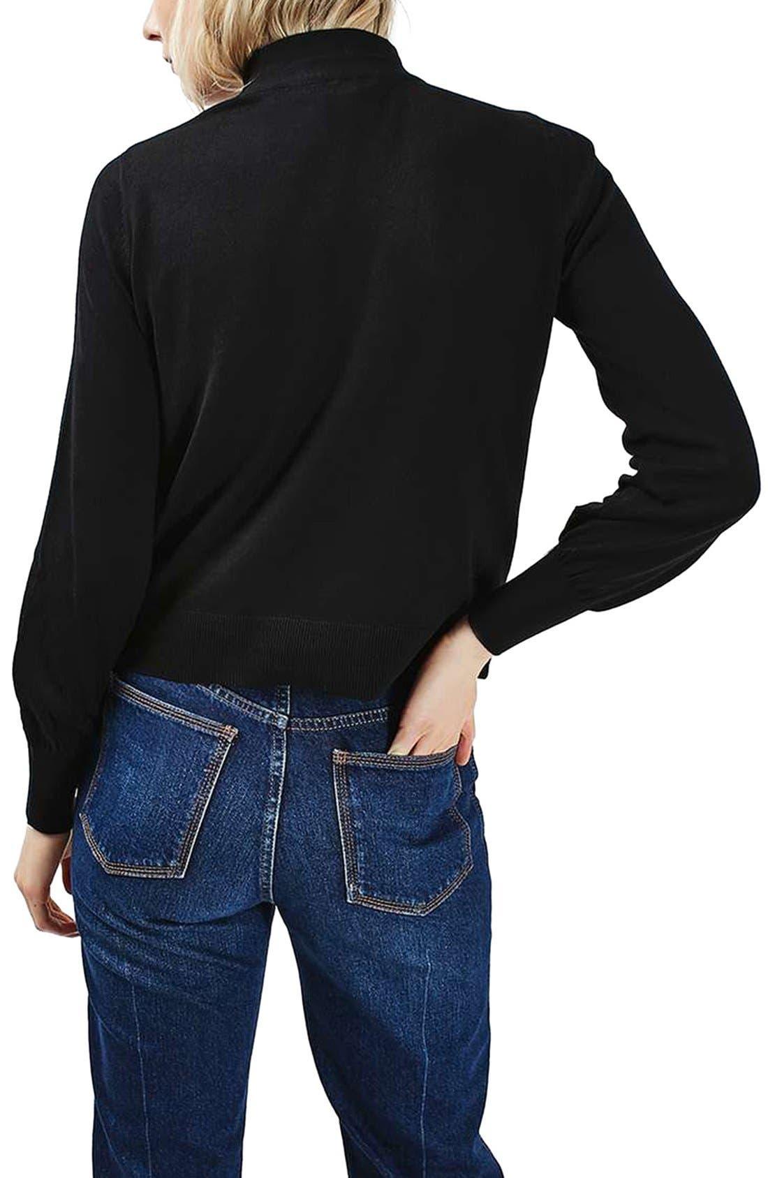 TOPSHOP, Blouson Sleeve Mock Neck Sweater, Alternate thumbnail 3, color, 001