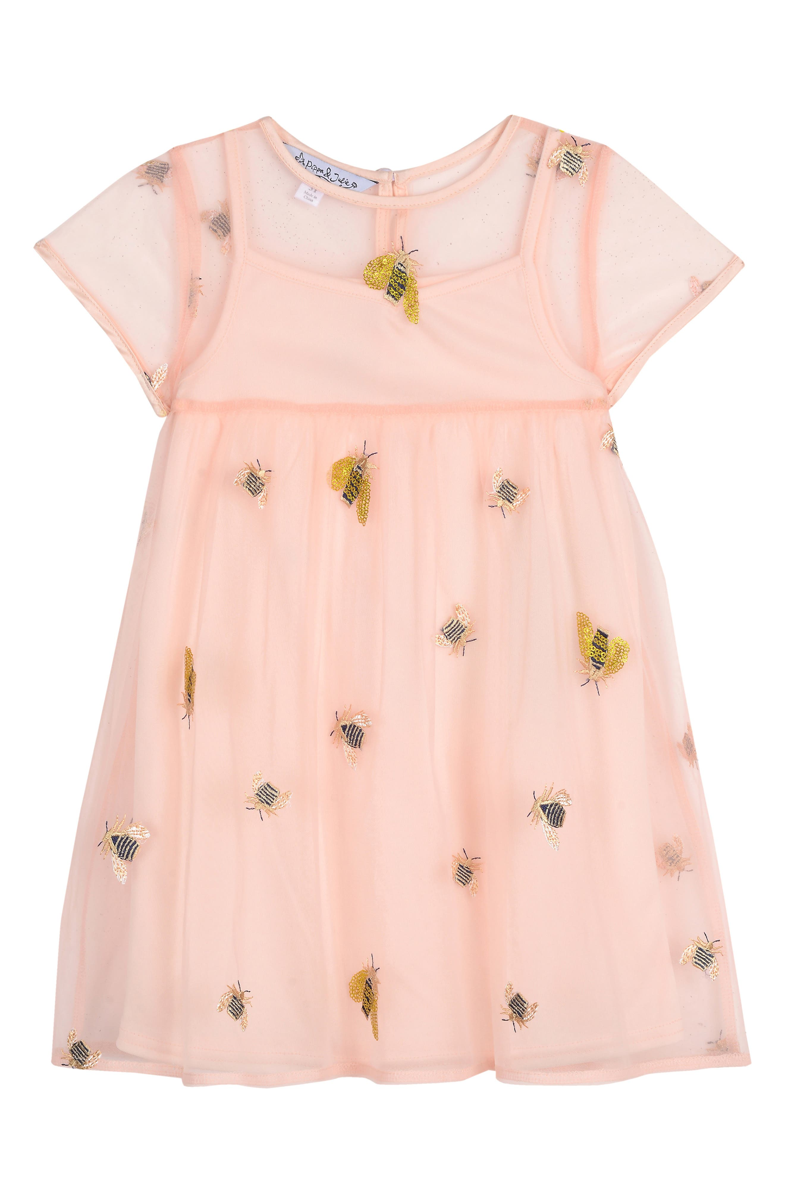 PIPPA & JULIE, Embroidered Bee Dress, Main thumbnail 1, color, PINK UNDERLAY