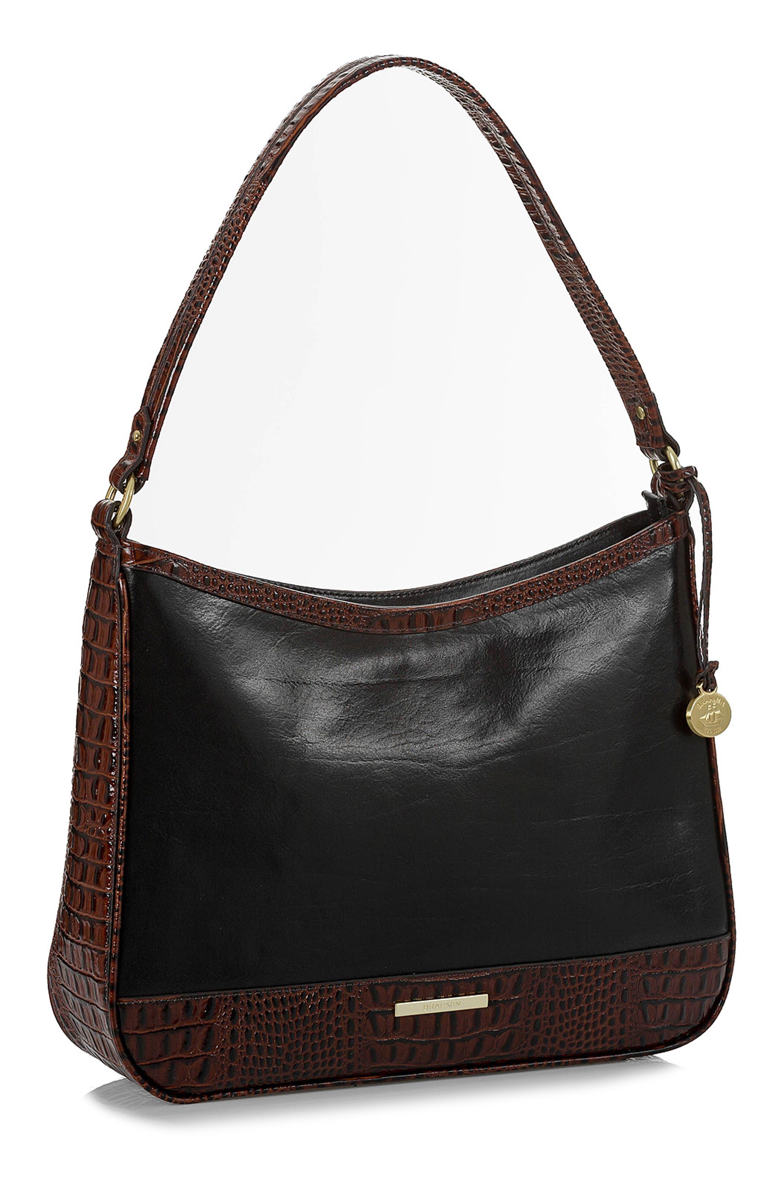 BRAHMIN, Noelle Leather Hobo Bag, Alternate thumbnail 5, color, 001