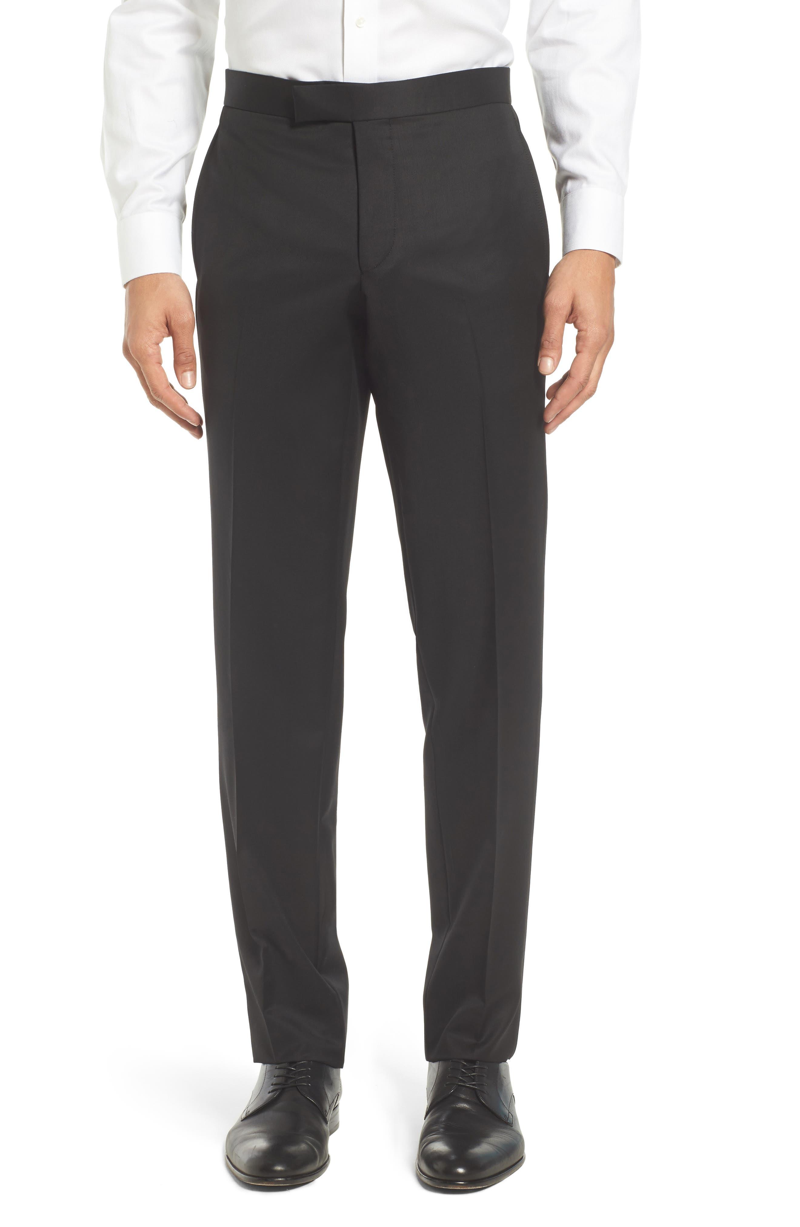 TED BAKER LONDON, Josh Flat Front Wool & Mohair Tuxedo Pants, Main thumbnail 1, color, BLACK