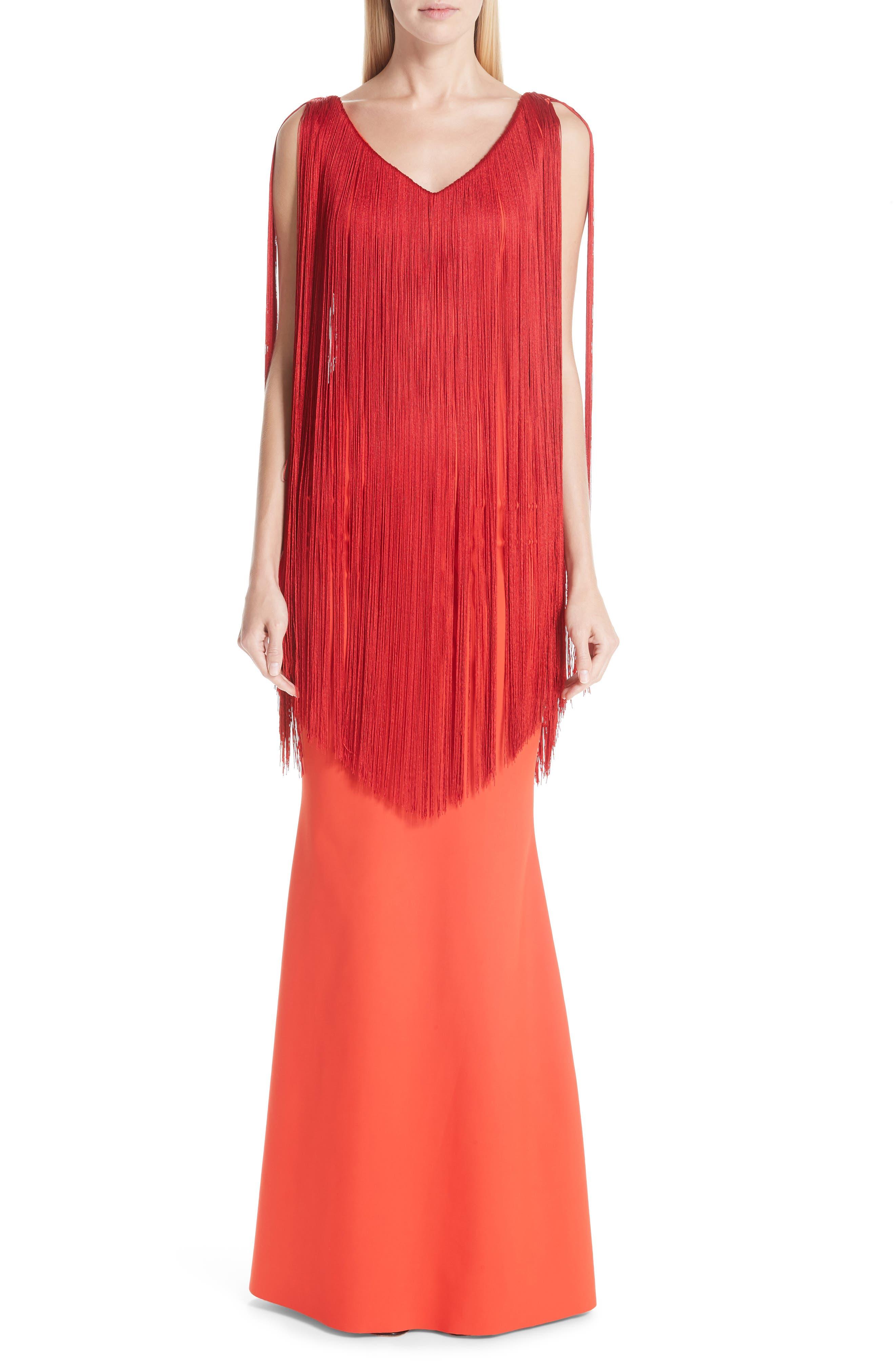 Chiara Boni La Petite Robe Tammy Fringe Evening Dress, 8 IT - Red