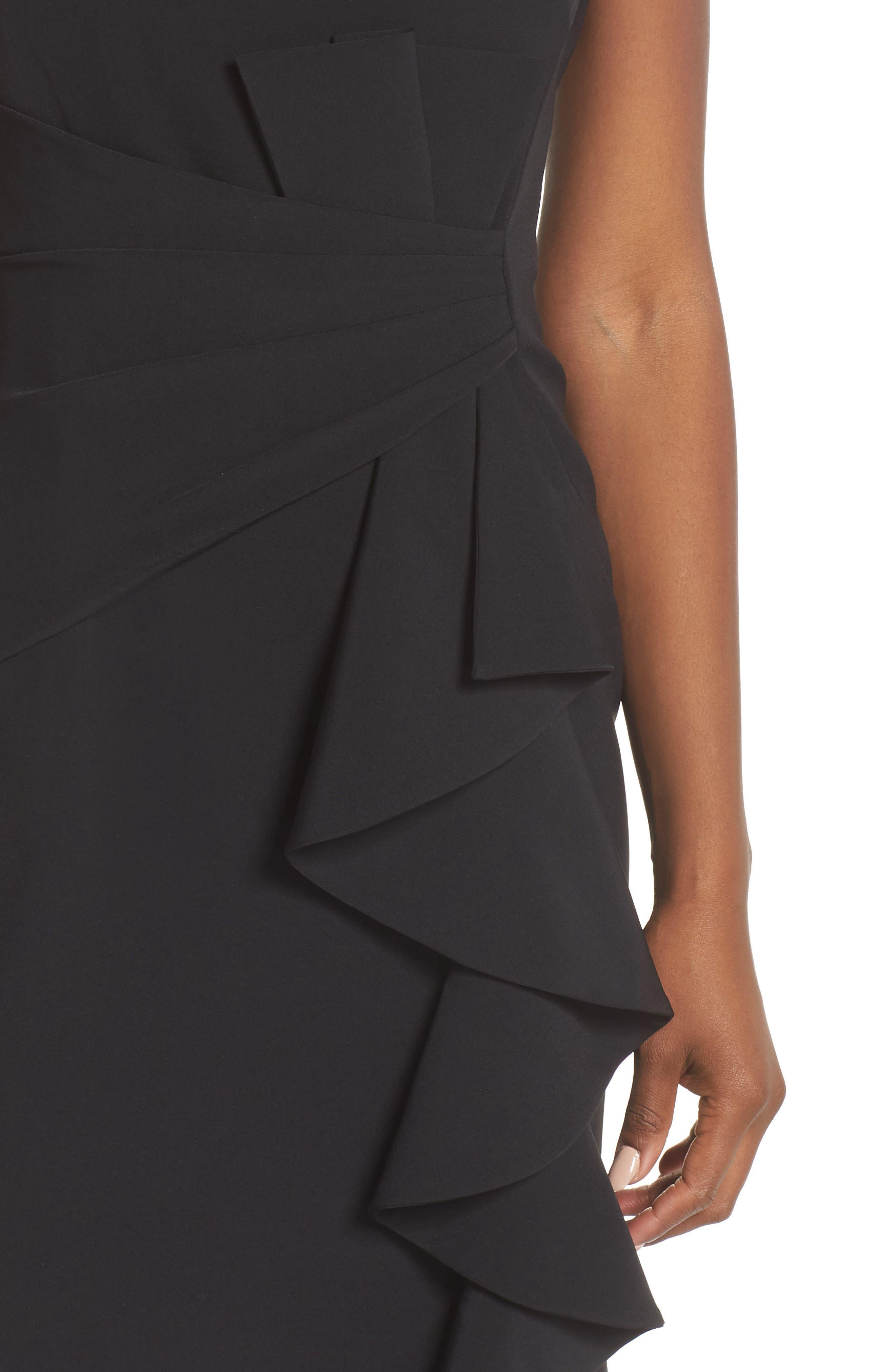 ELIZA J, Ruffle Front Gown, Alternate thumbnail 5, color, BLACK