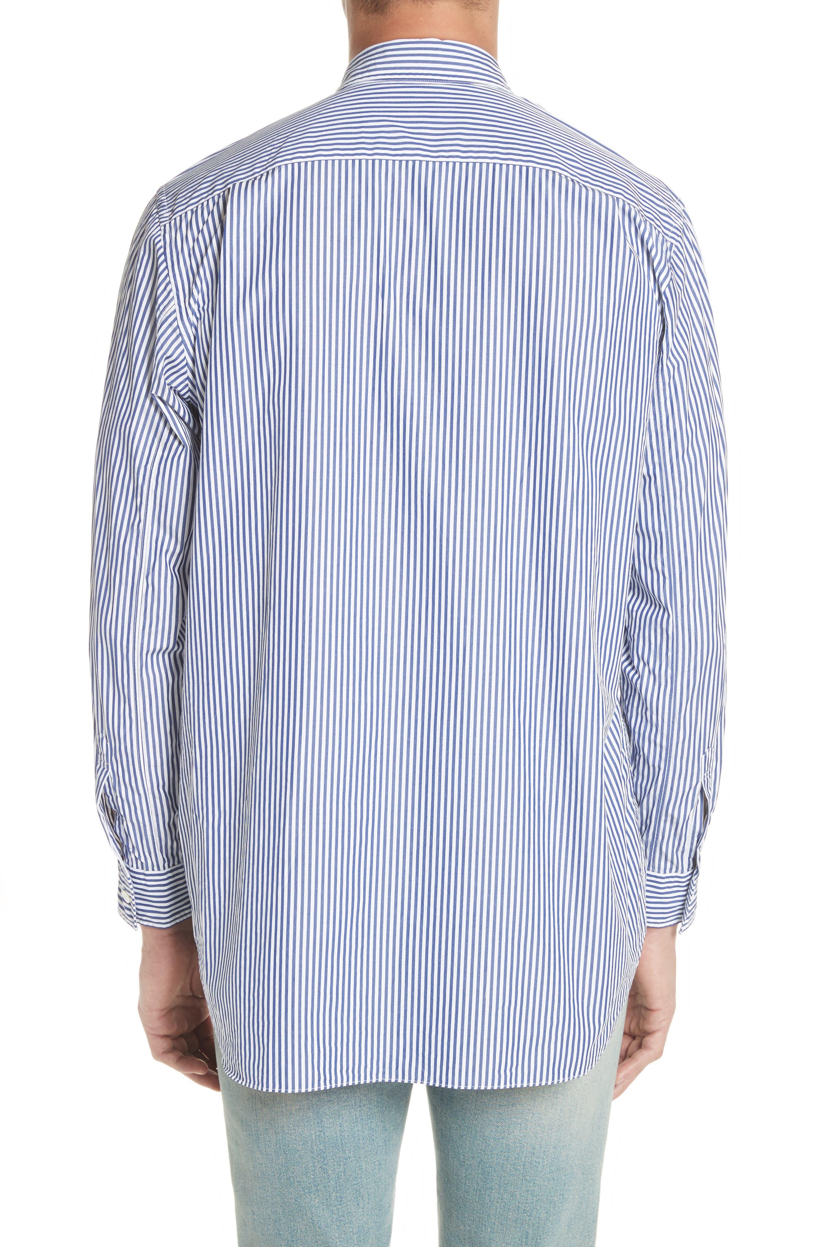COMME DES GARÇONS PLAY, Stripe Woven Shirt, Alternate thumbnail 2, color, BLUE