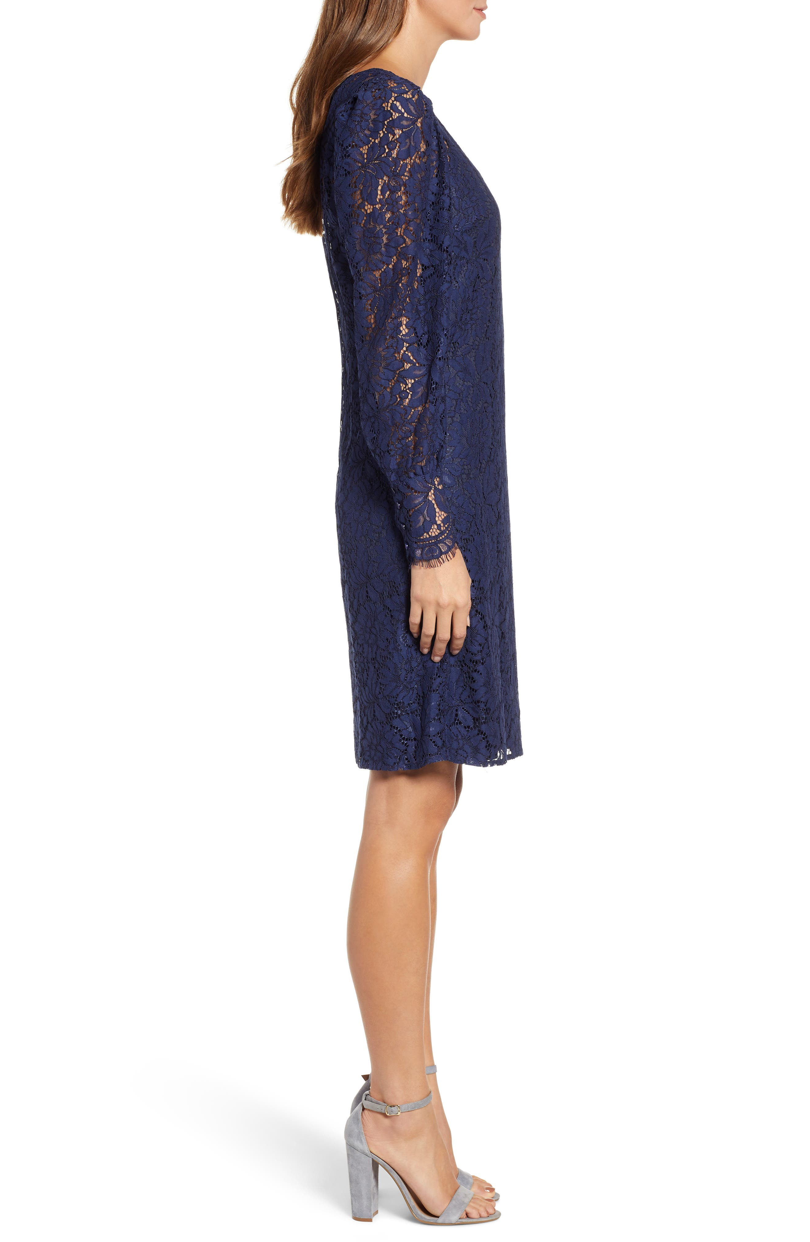 ROSEMUNDE, Tie Back Lace Dress, Alternate thumbnail 4, color, NAVY PEONY