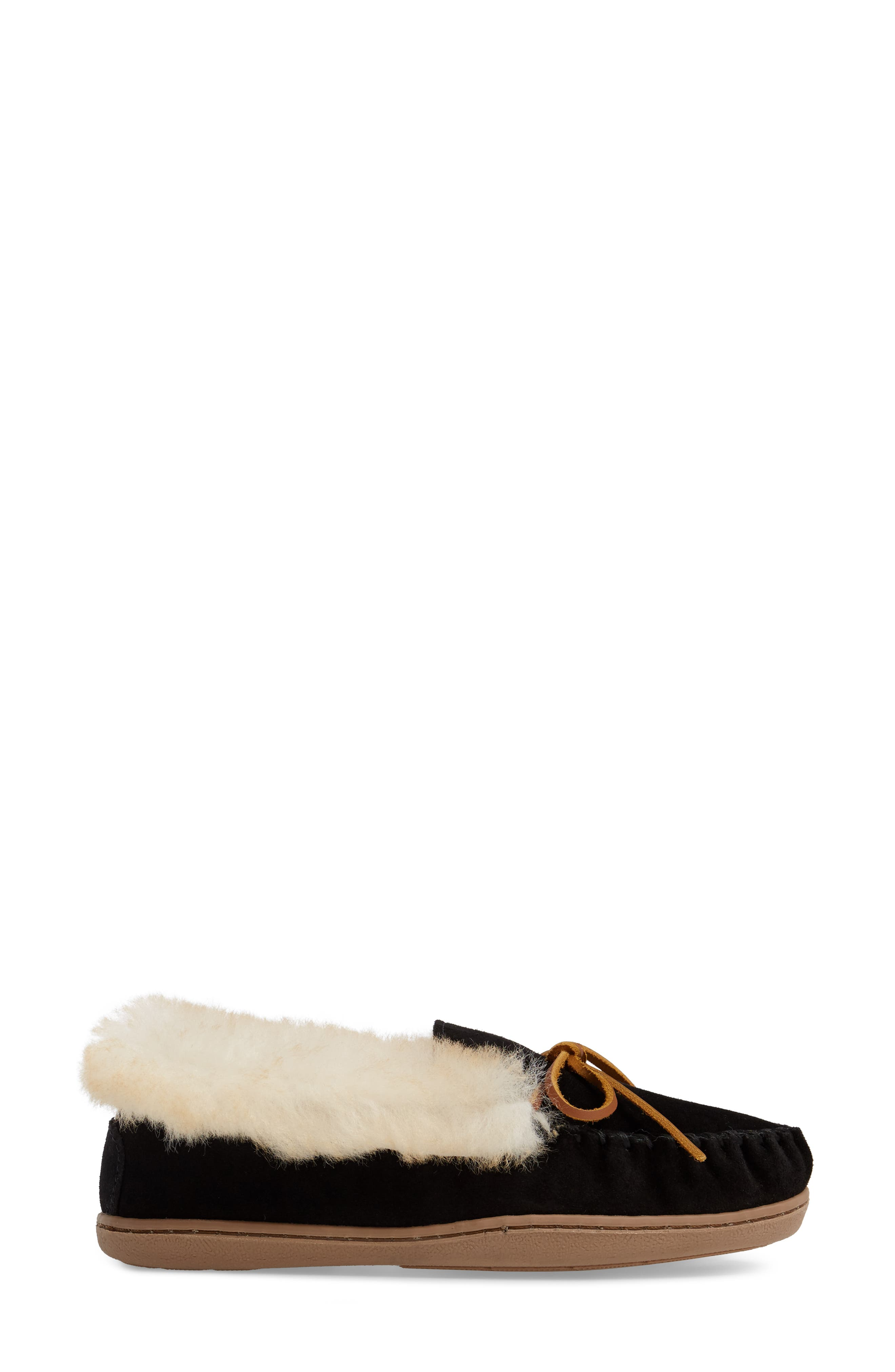 MINNETONKA, Alpine Genuine Shearling Slipper, Alternate thumbnail 3, color, BLACK