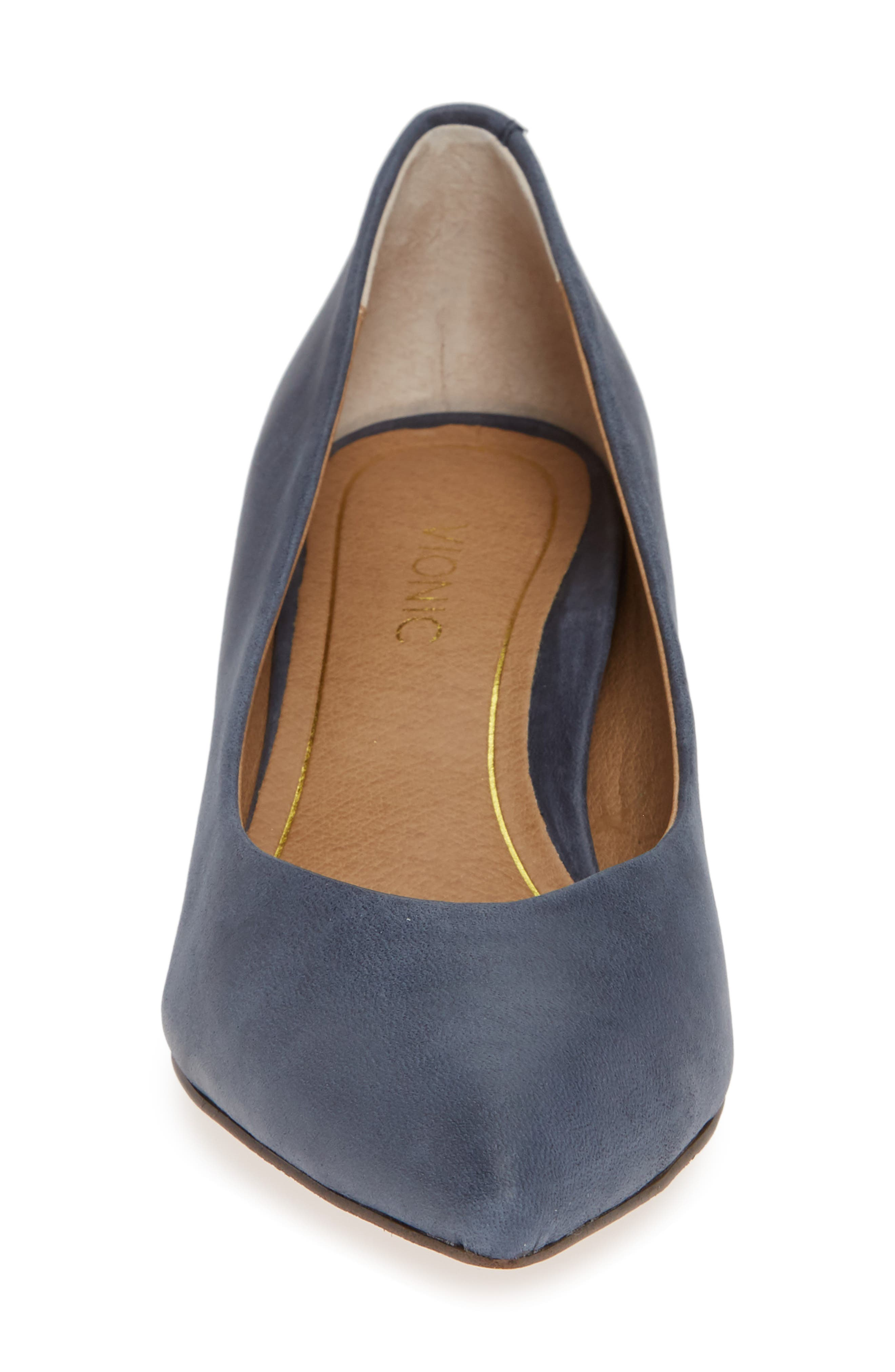 VIONIC, Josie Kitten Heel Pump, Alternate thumbnail 4, color, NAVY LEATHER