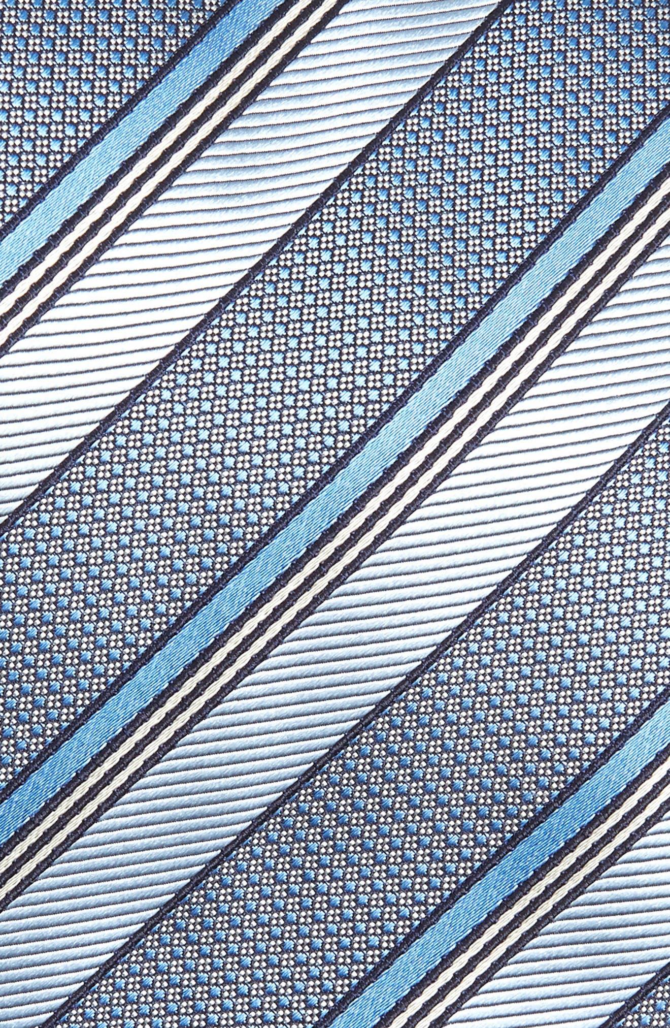 CANALI, Stripe Silk Tie, Alternate thumbnail 2, color, BLUE