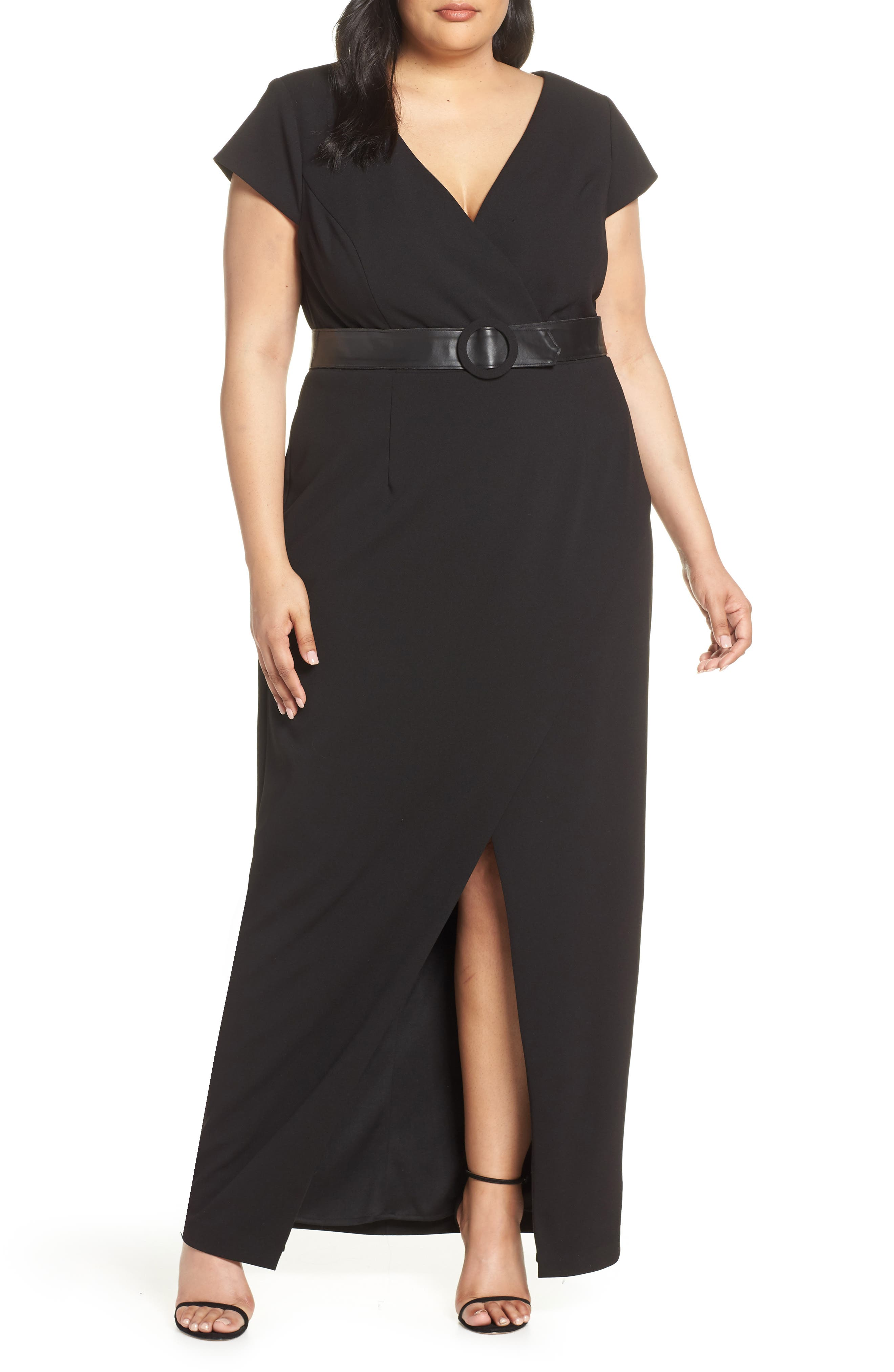 Plus Size Vince Camuto Belted V-Neck Evening Dress, Black