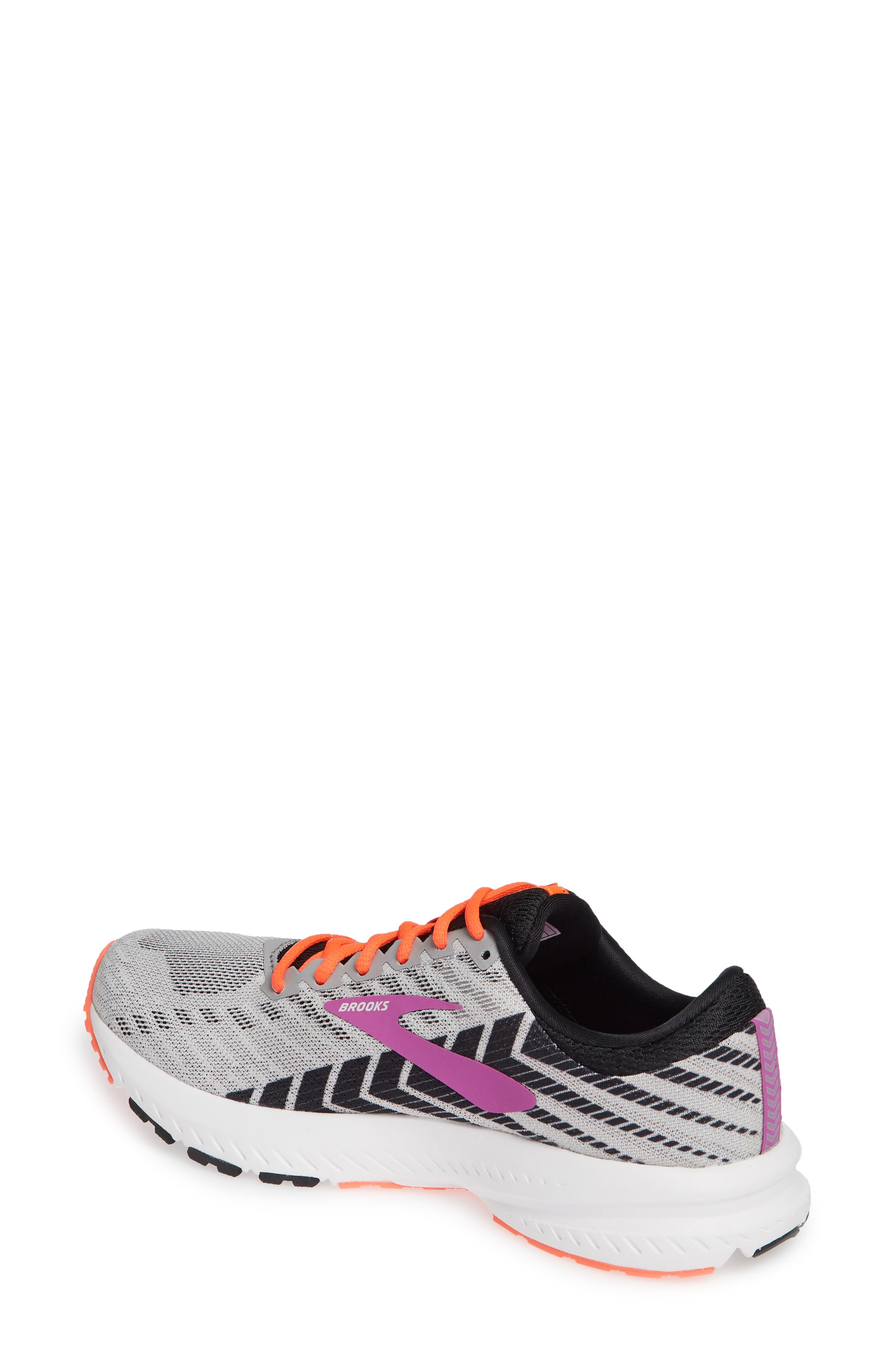 BROOKS, Launch 6 Running Shoe, Alternate thumbnail 2, color, GREY/ BLACK/ PURPLE