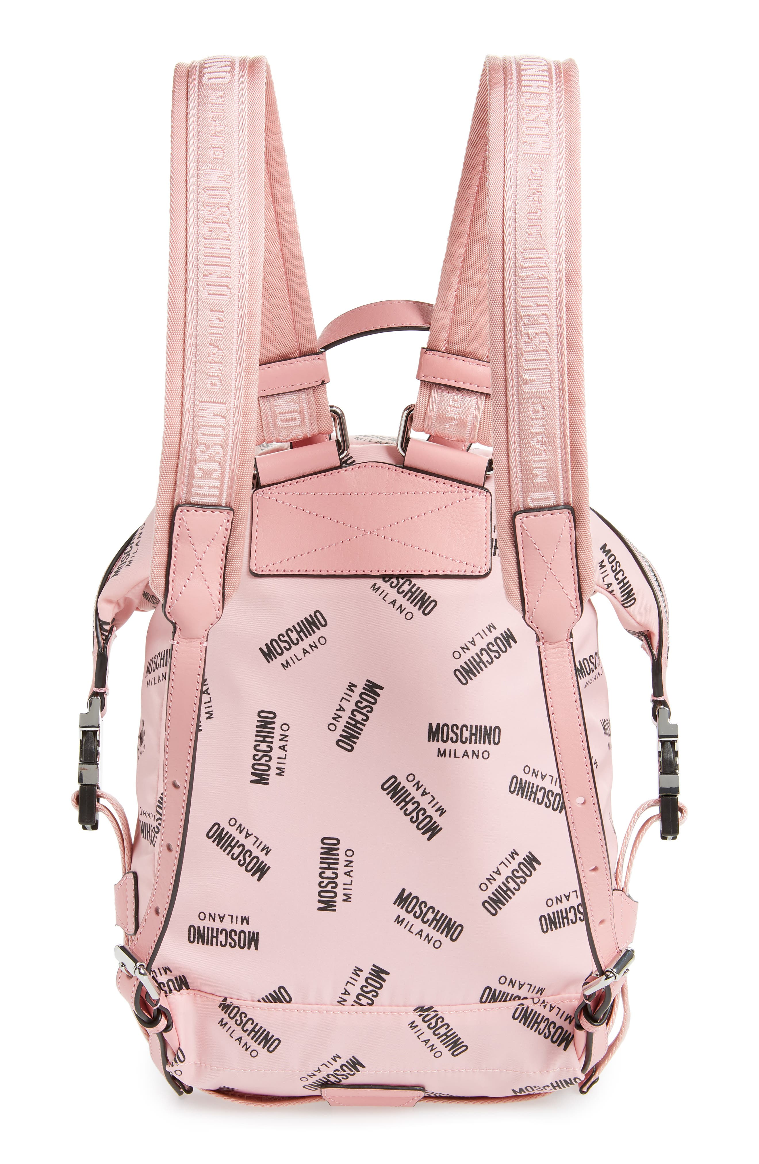 MOSCHINO, Small Logo Backpack, Alternate thumbnail 3, color, PINK