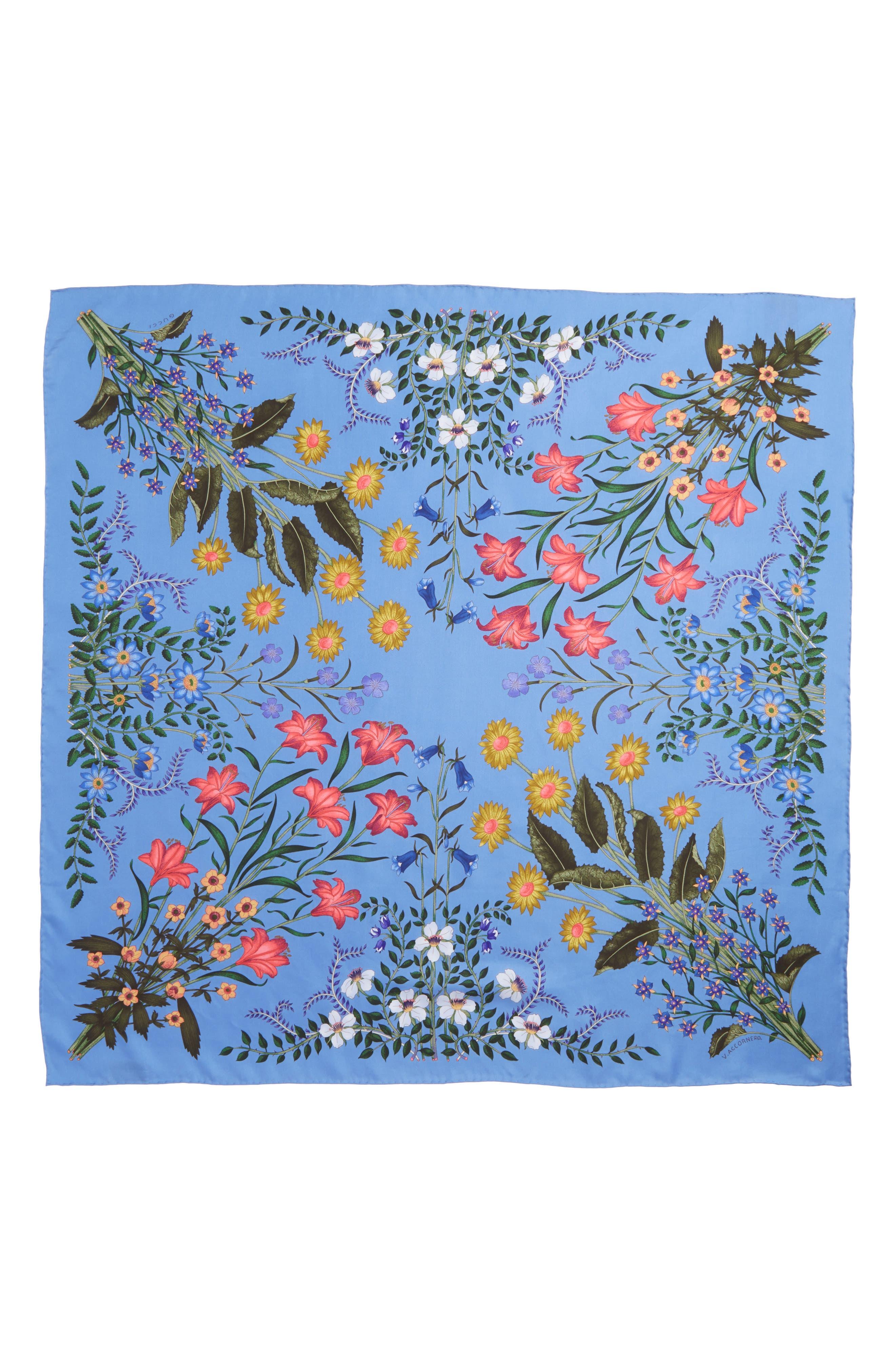 GUCCI, New Flora Foulard Scarf, Alternate thumbnail 3, color, BLUETTE
