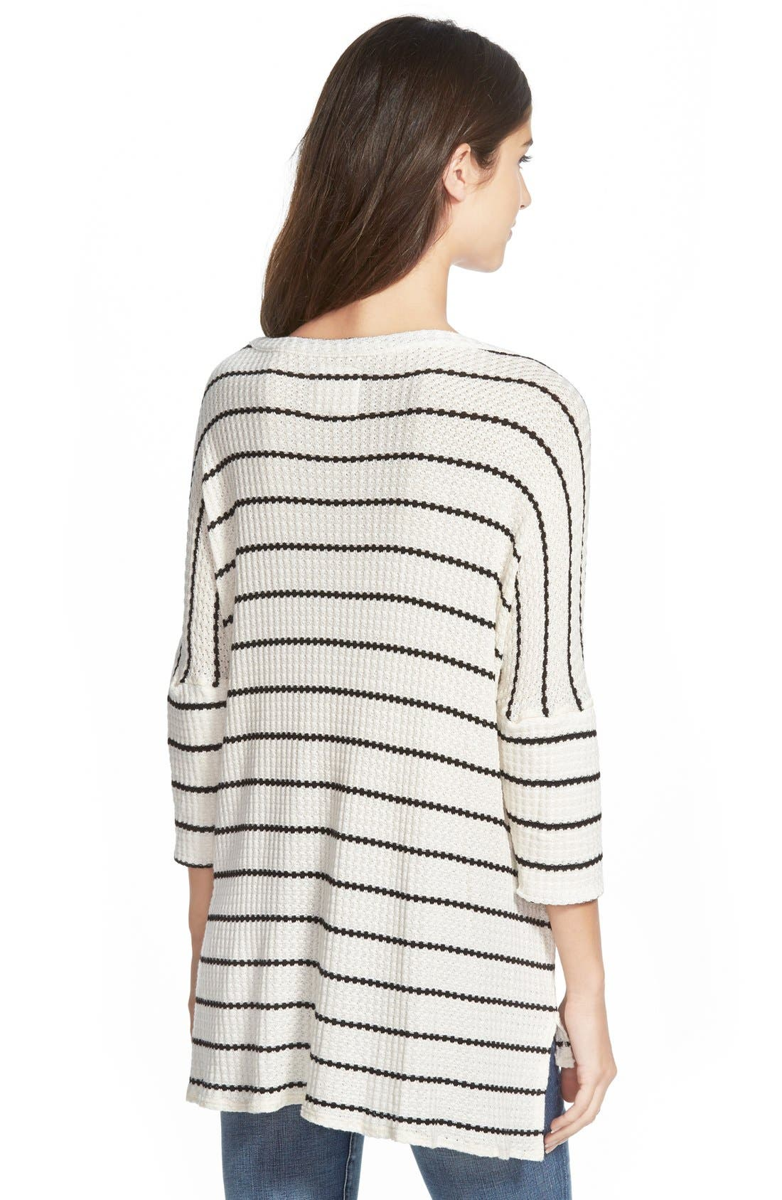 CHASER, Stripe Thermal Sweater, Alternate thumbnail 2, color, 001