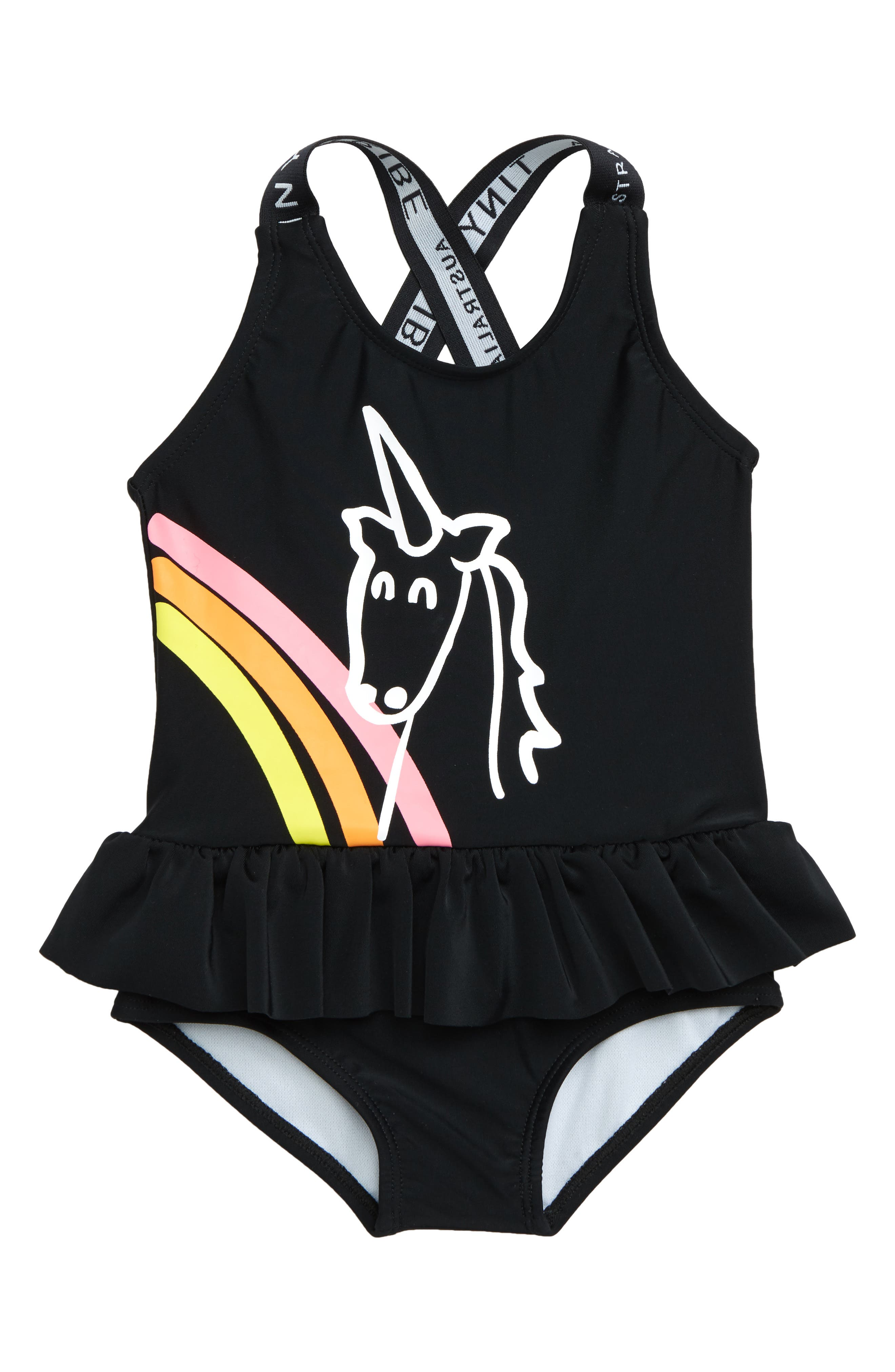 TINY TRIBE, Unicorn Skirted One-Piece Swimsuit, Main thumbnail 1, color, 001