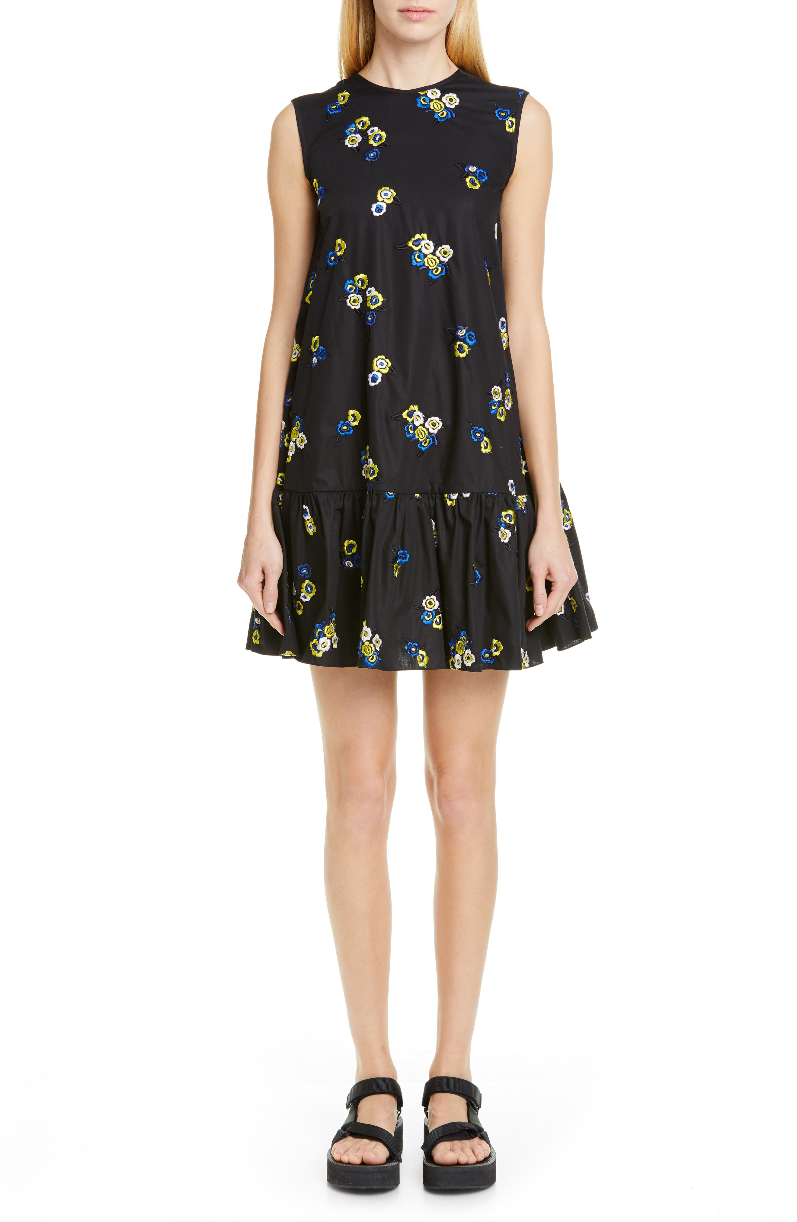 Cecilie Bahnsen Lala Embroidered Trapeze Dress, US / 8 UK - Black