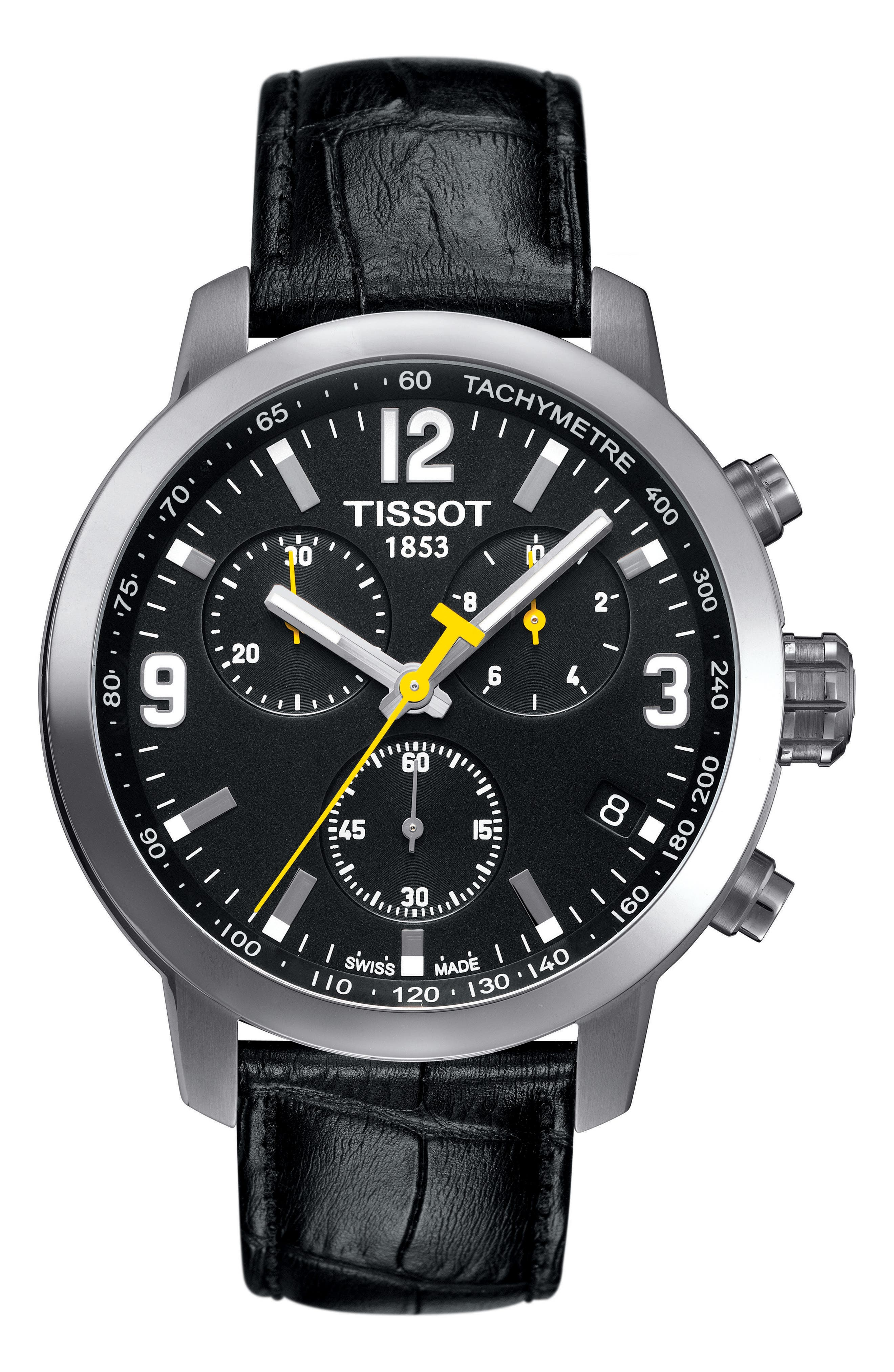 TISSOT PRC200 Chronograph Leather Strap Watch, 42mm, Main, color, BLACK/ SILVER