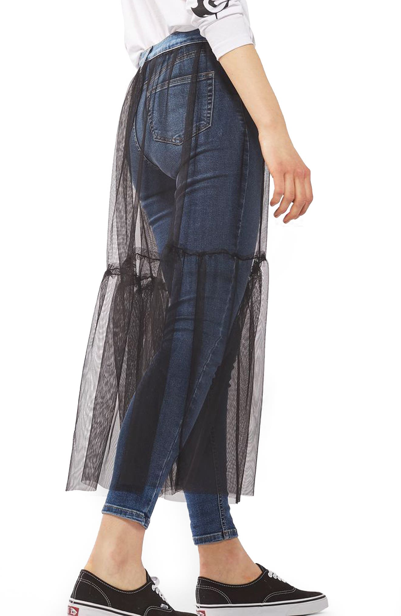 TOPSHOP, Jamie Tulle Overlay Skinny Jeans, Alternate thumbnail 2, color, 400