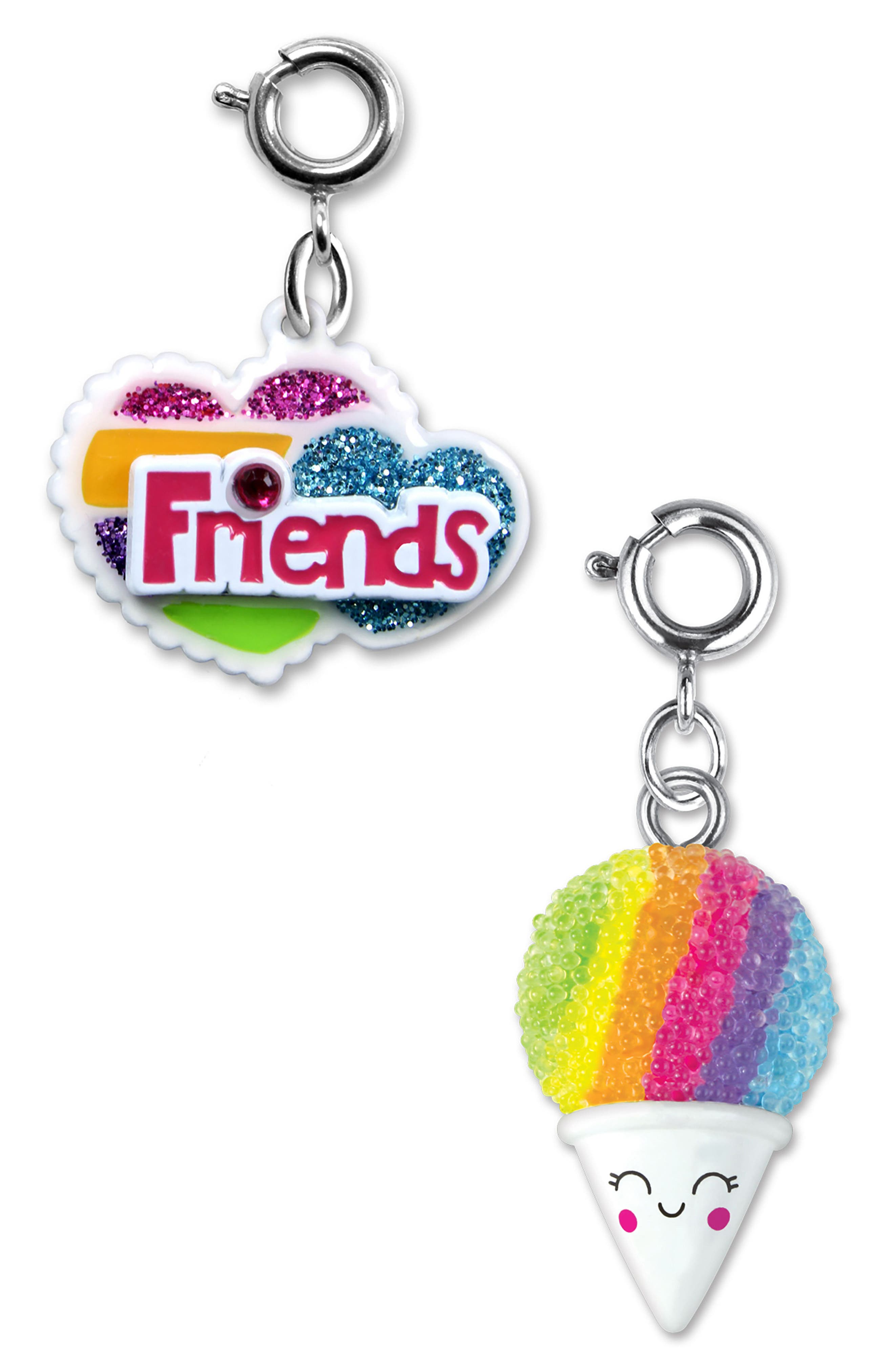 HIGH INTENCITY CHARM IT!<sup>®</sup> 2-Pack Friends Heart & Snow Cone Charms, Main, color, MULTI