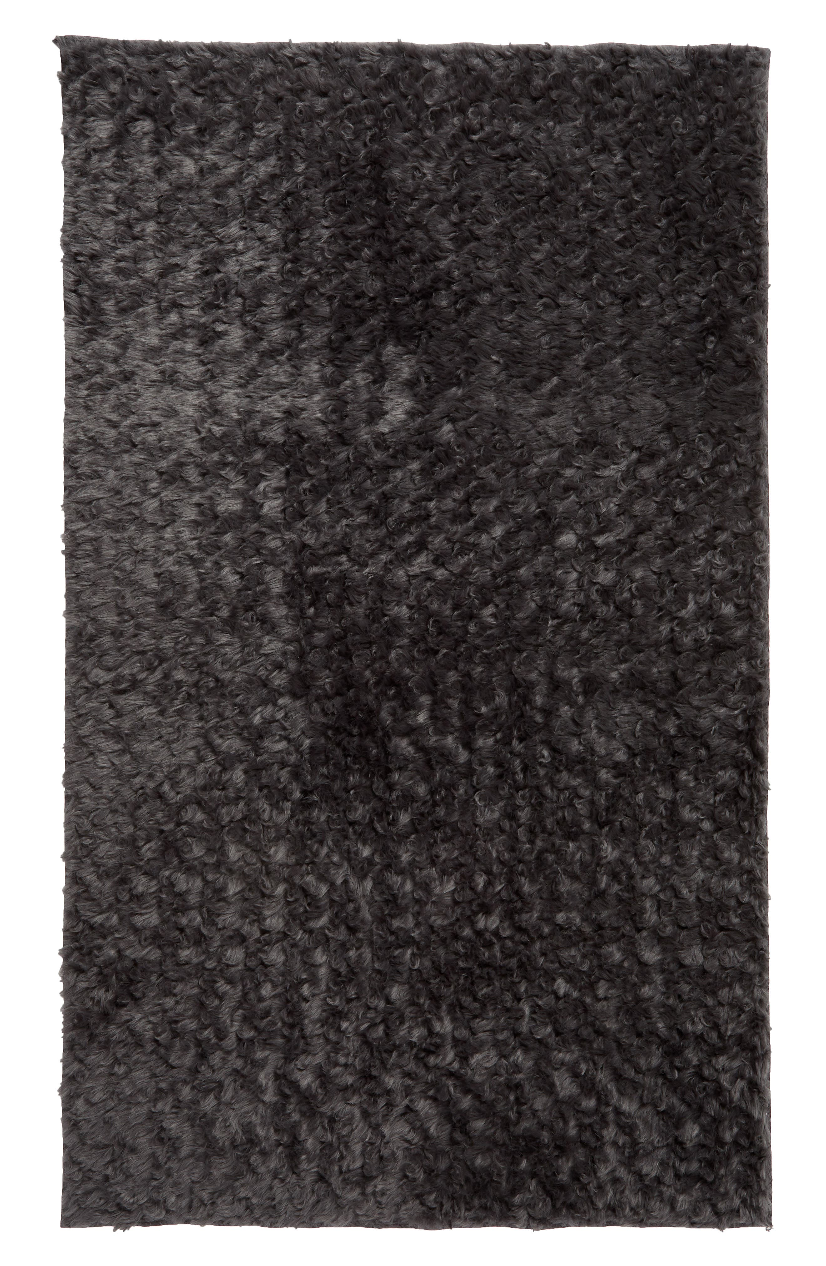 TREASURE & BOND, Faux Fur Rug, Main thumbnail 1, color, GREY ONYX