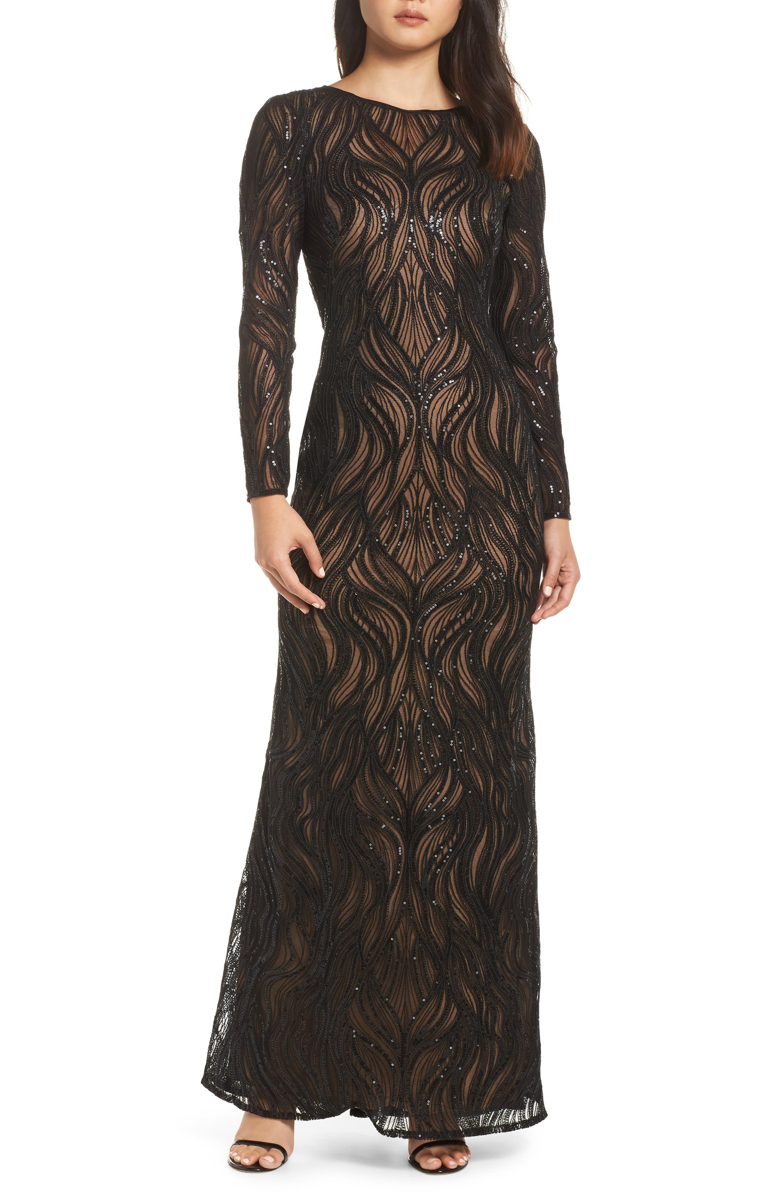 TADASHI SHOJI, Long Sleeve Sequined Mesh Evening Dress, Main thumbnail 1, color, 001