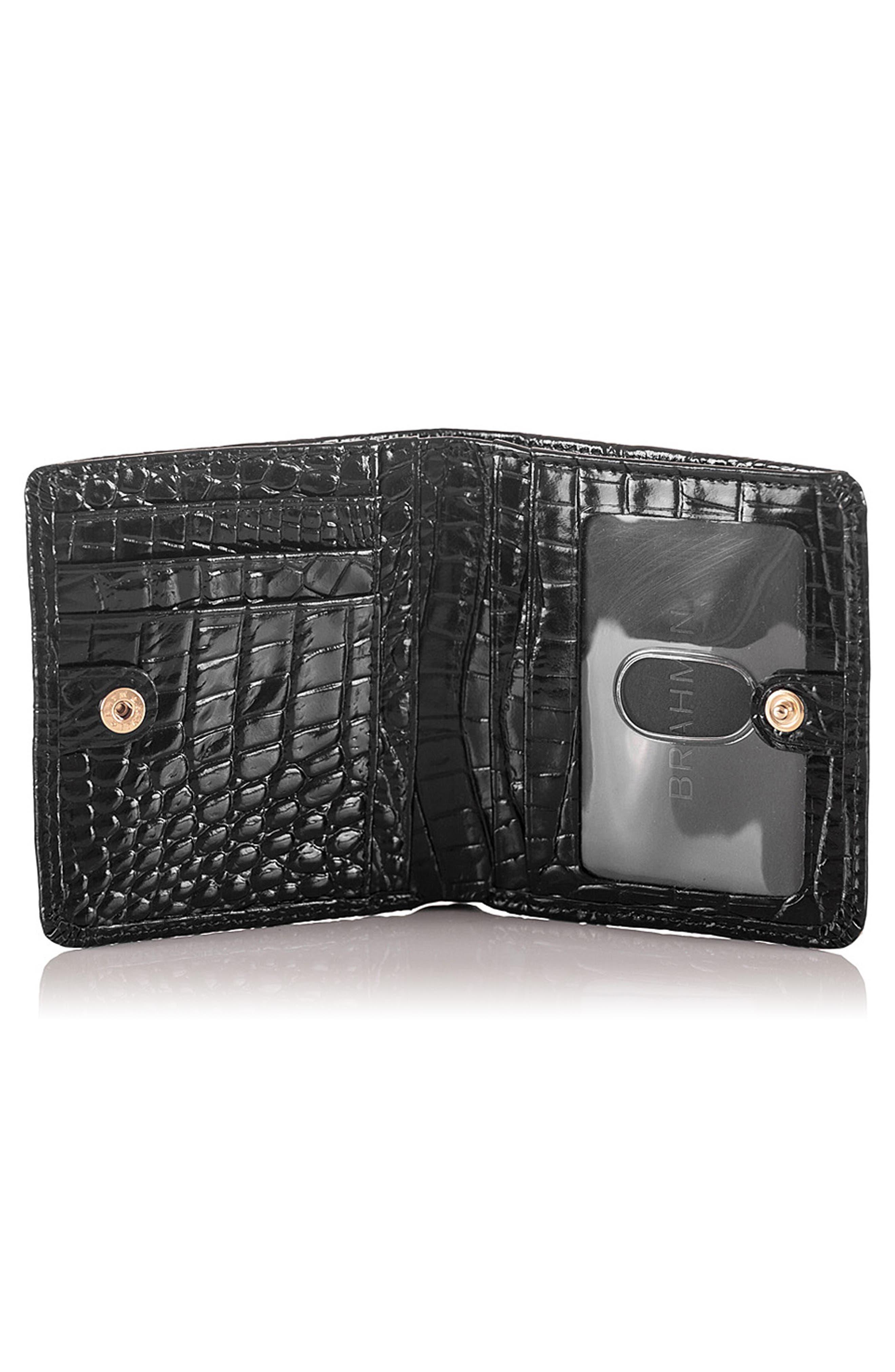 BRAHMIN, Jane Croc Embossed Leather Wallet, Alternate thumbnail 2, color, BLACK MELBOURNE