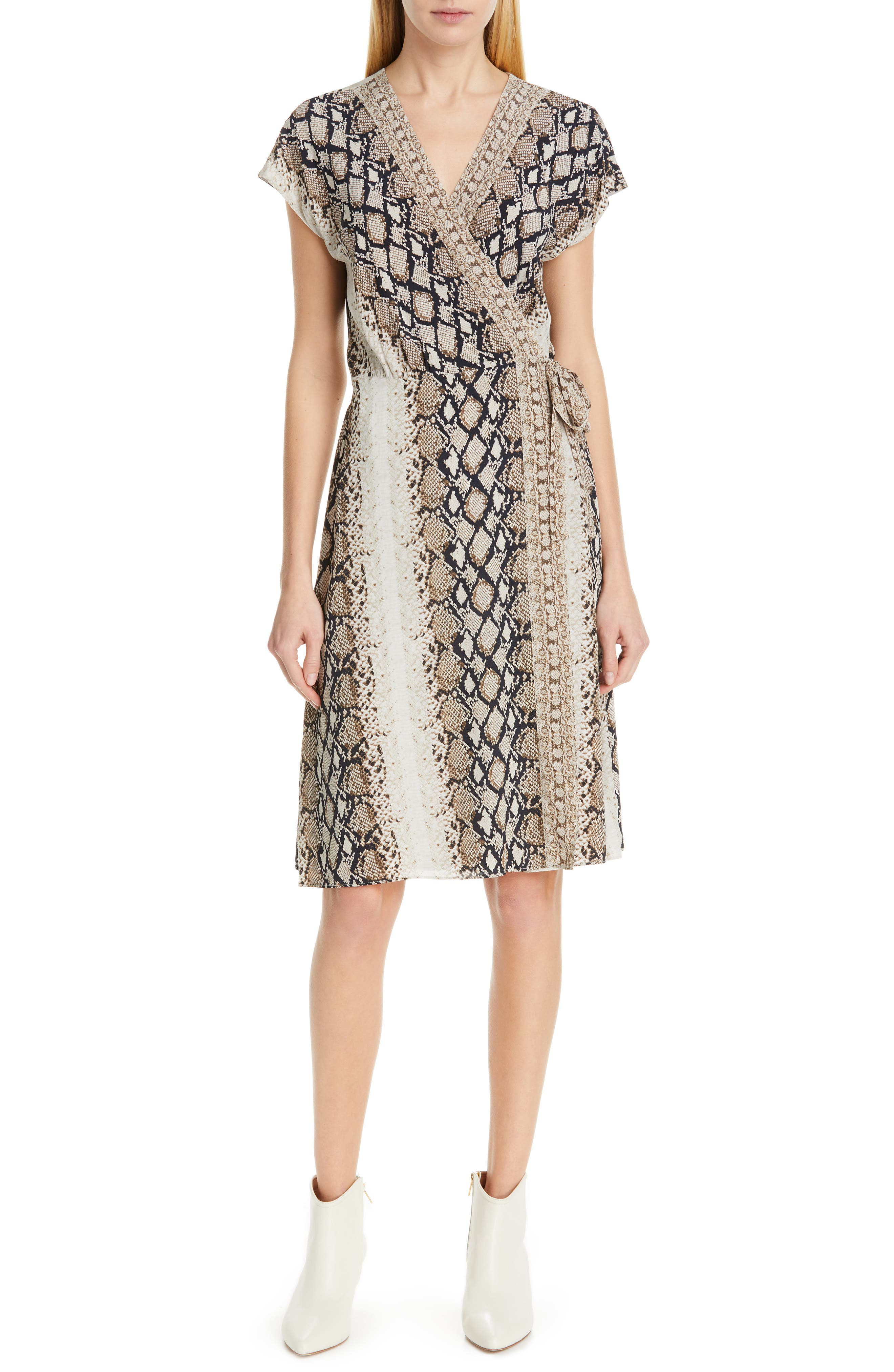 Joie Bethwyn C Snakeskin Print Wrap Style Dress, Ivory