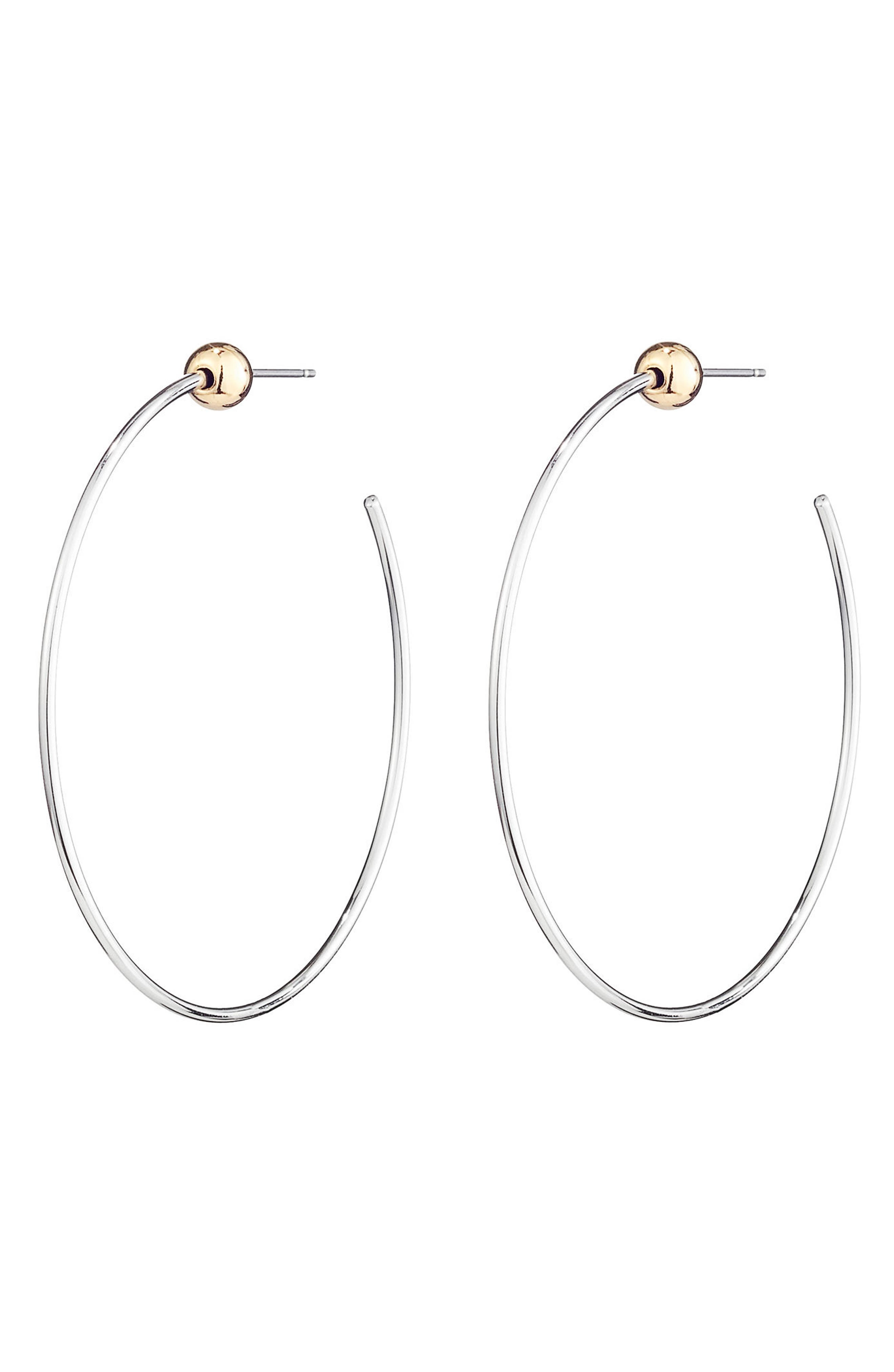 JENNY BIRD, Icon Small Hoop Earrings, Main thumbnail 1, color, SILVER/ GOLD