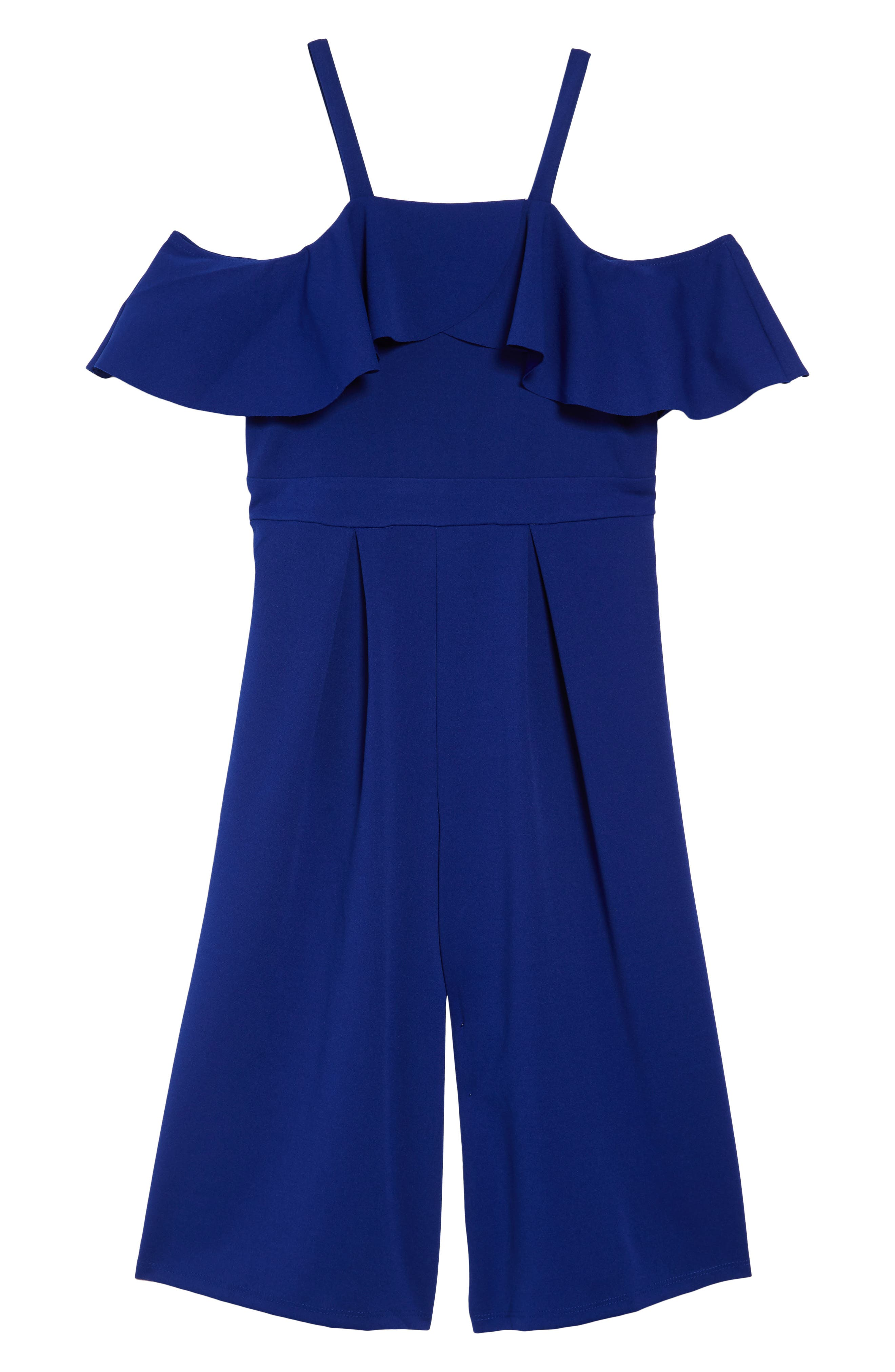 LOVE, NICKIE LEW Ruffle Cropped Jumpsuit, Main, color, ROYAL
