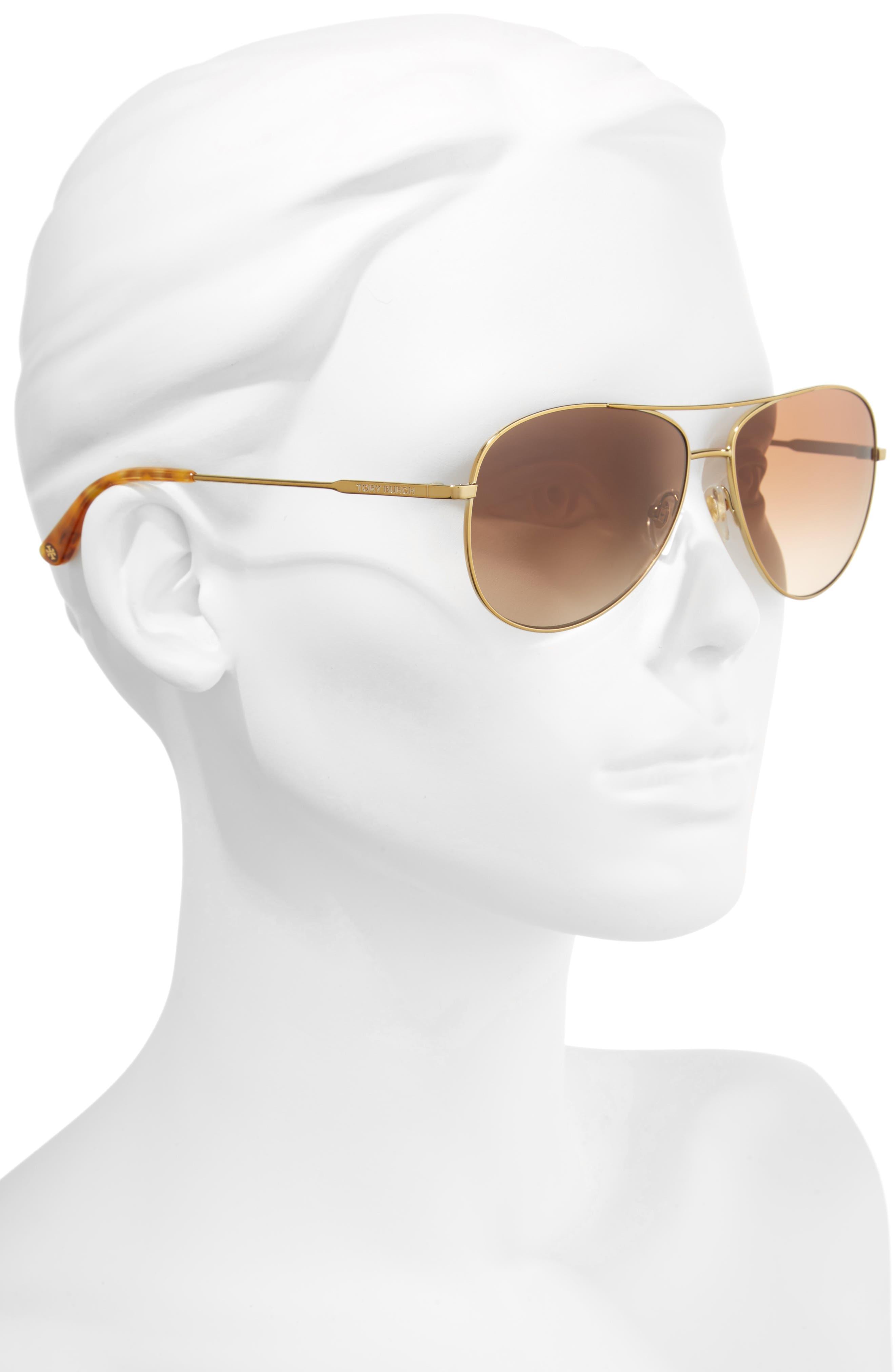 TORY BURCH, 59mm Metal Aviator Sunglasses, Alternate thumbnail 3, color, 710