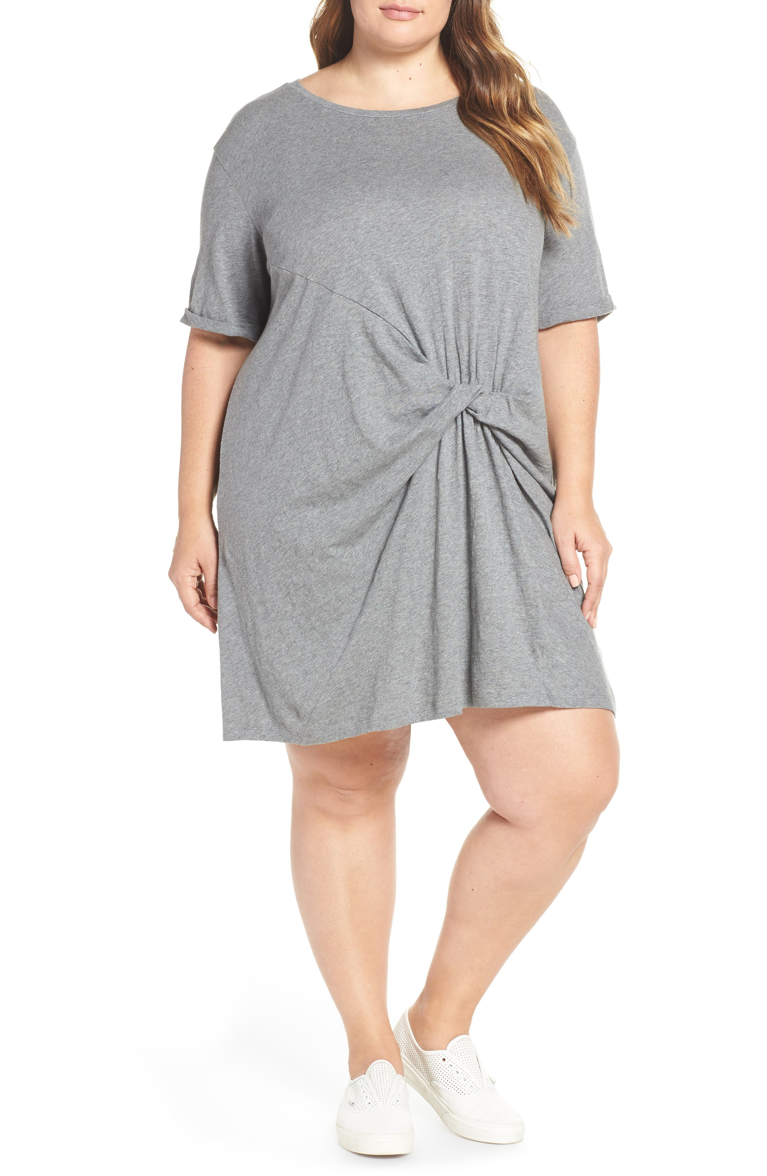 CASLON<SUP>®</SUP>, Knot Front T-Shirt Dress, Main thumbnail 1, color, GREY DARK HEATHER