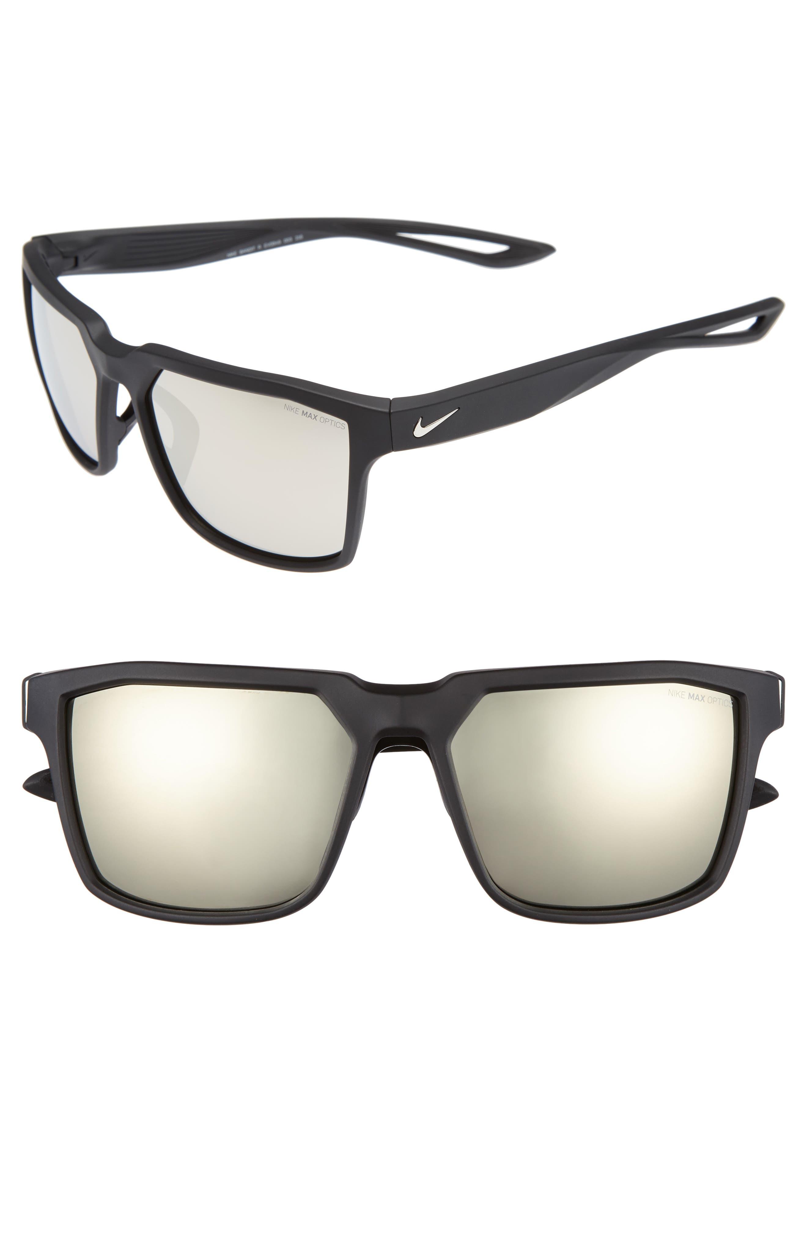 NIKE Bandit R 59mm Sunglasses, Main, color, MATTE BLACK/ SILVER