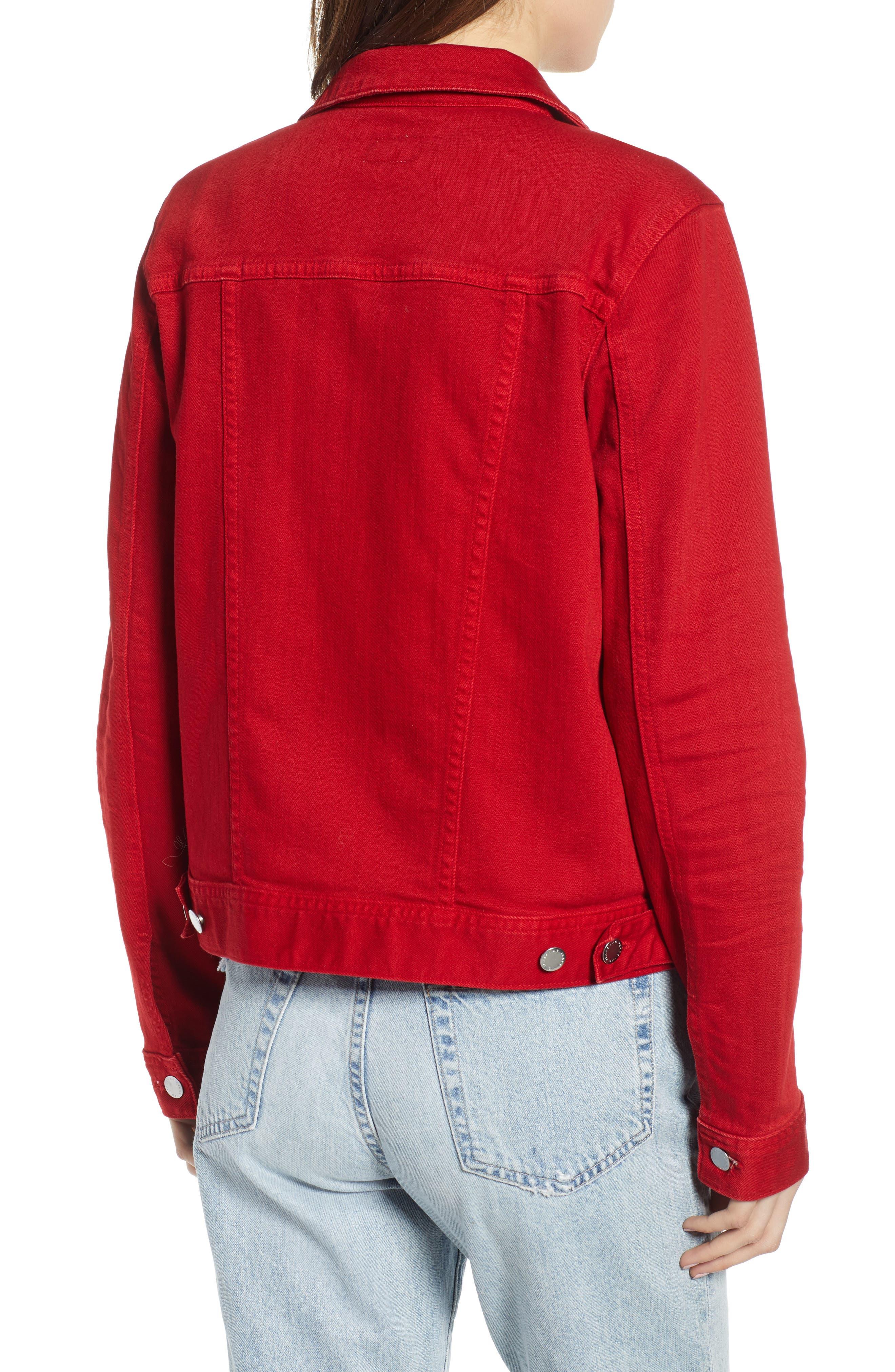 AG, Mya Denim Jacket, Alternate thumbnail 2, color, 01Y HI WHITE CLEVER RED