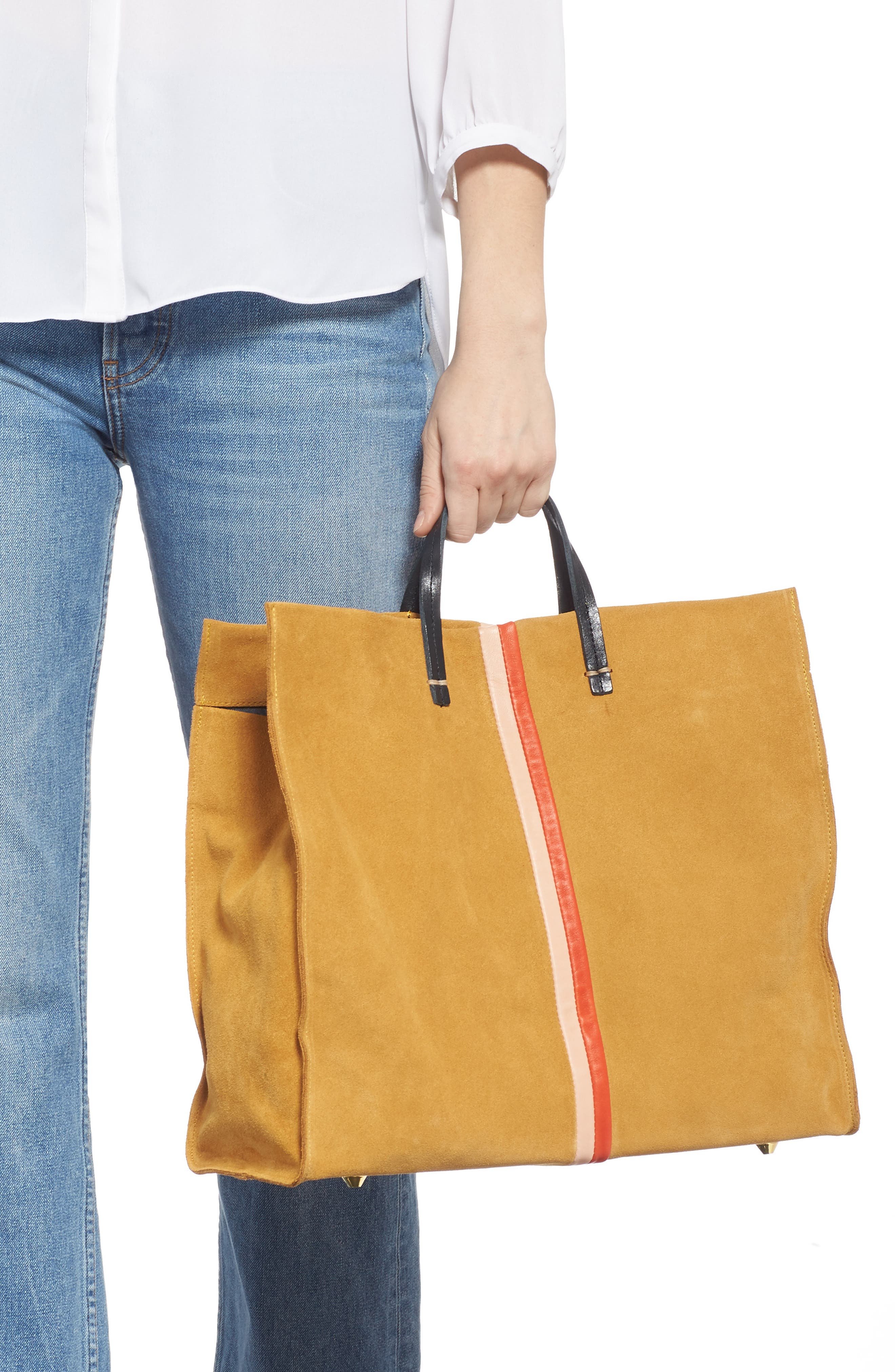 CLARE V., Simple Stripe Suede Tote, Alternate thumbnail 2, color, MUSTARD SUEDE