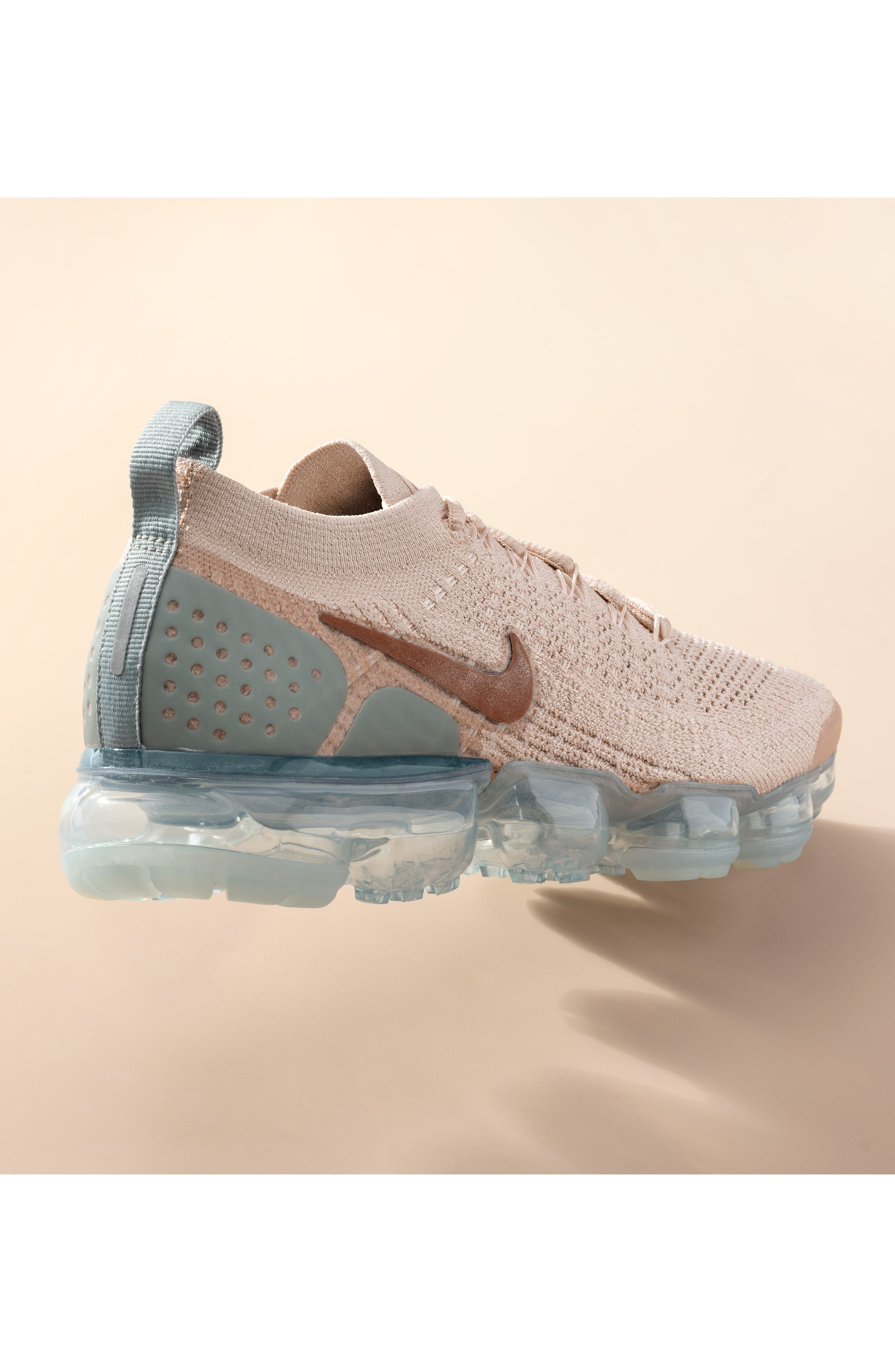 NIKE, Air VaporMax Flyknit 2 Running Shoe, Alternate thumbnail 8, color, ROSE GOLD/ BIO BEIGE