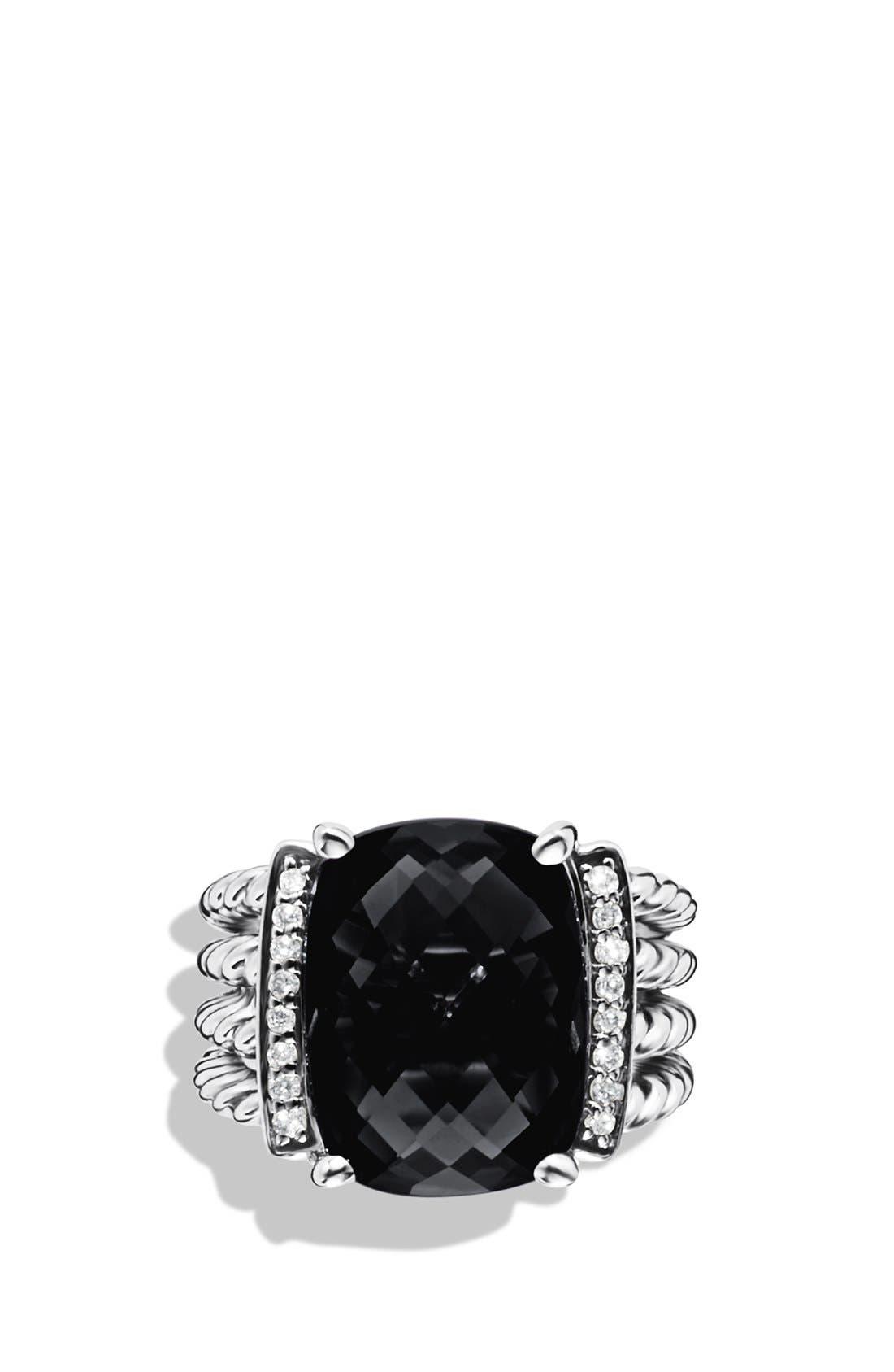 DAVID YURMAN, 'Wheaton' Ring with Semiprecious Stone & Diamonds, Alternate thumbnail 4, color, BLACK ONYX