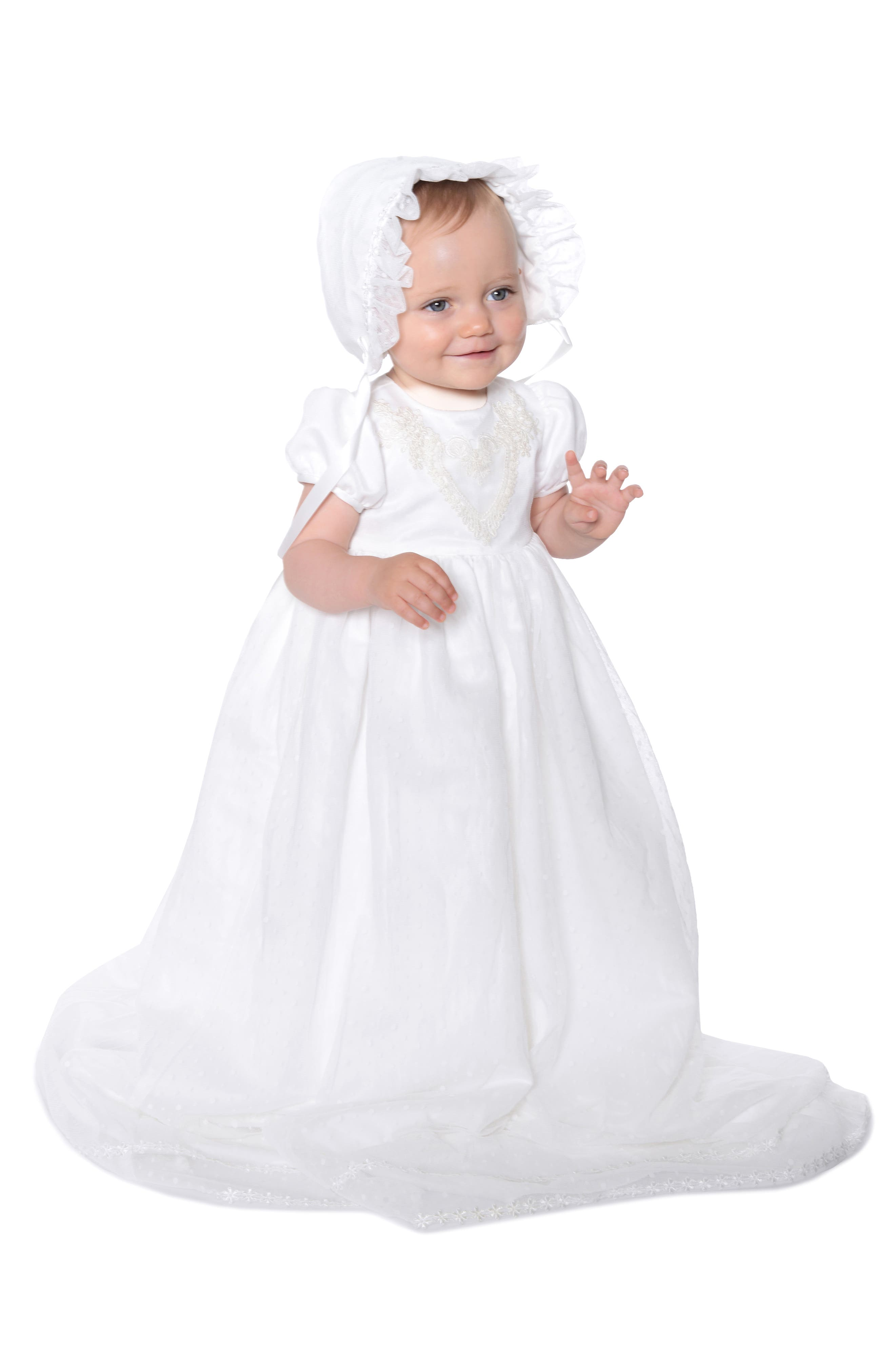 PIPPA & JULIE, Point Desprit Embroidered Heart Christening Gown & Bonnet, Alternate thumbnail 2, color, WHITE