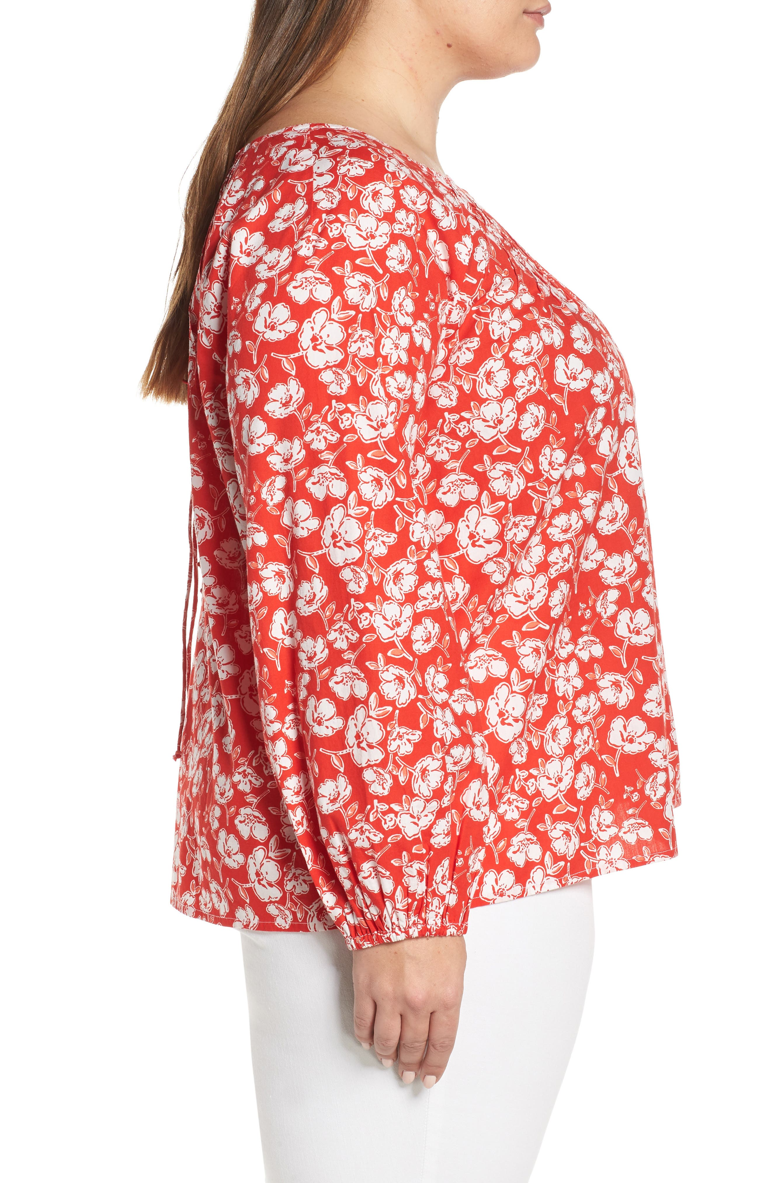 CASLON<SUP>®</SUP>, Floral Print Pintuck Pleat Top, Alternate thumbnail 3, color, RED SCARLET FLORAL
