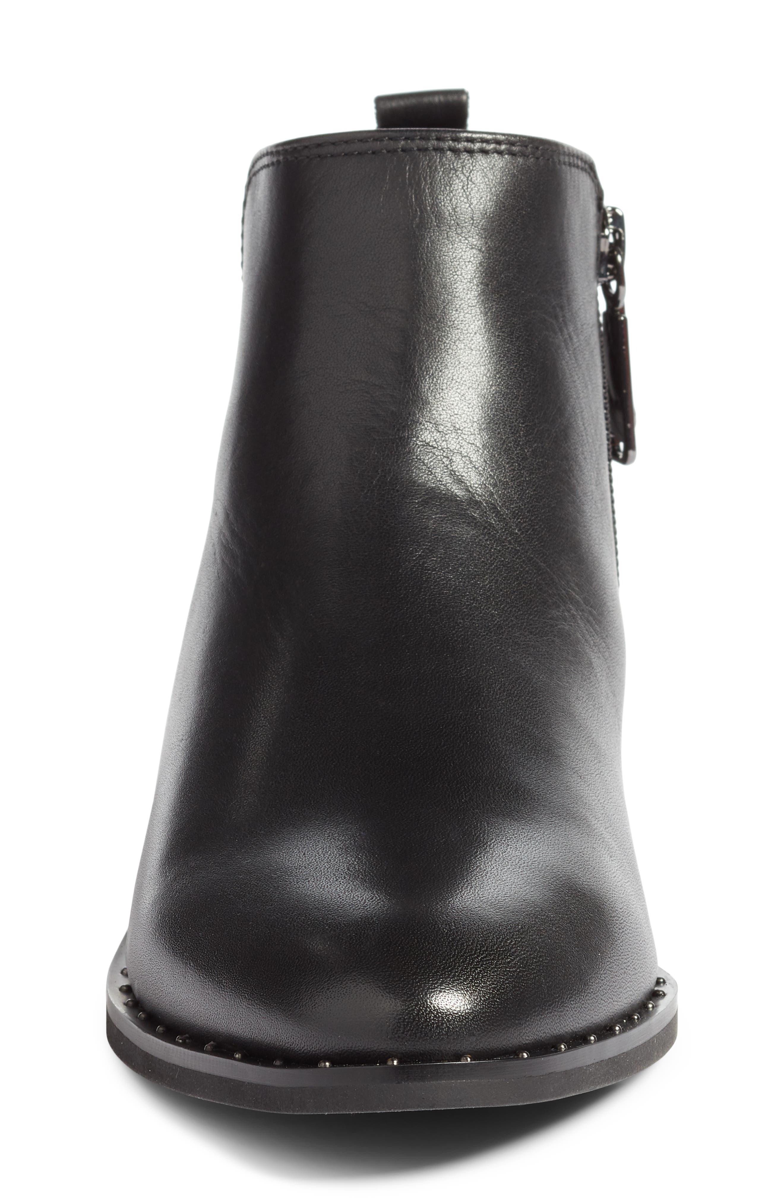 BLONDO, Tami Waterproof Moto Boot, Alternate thumbnail 4, color, BLACK LEATHER