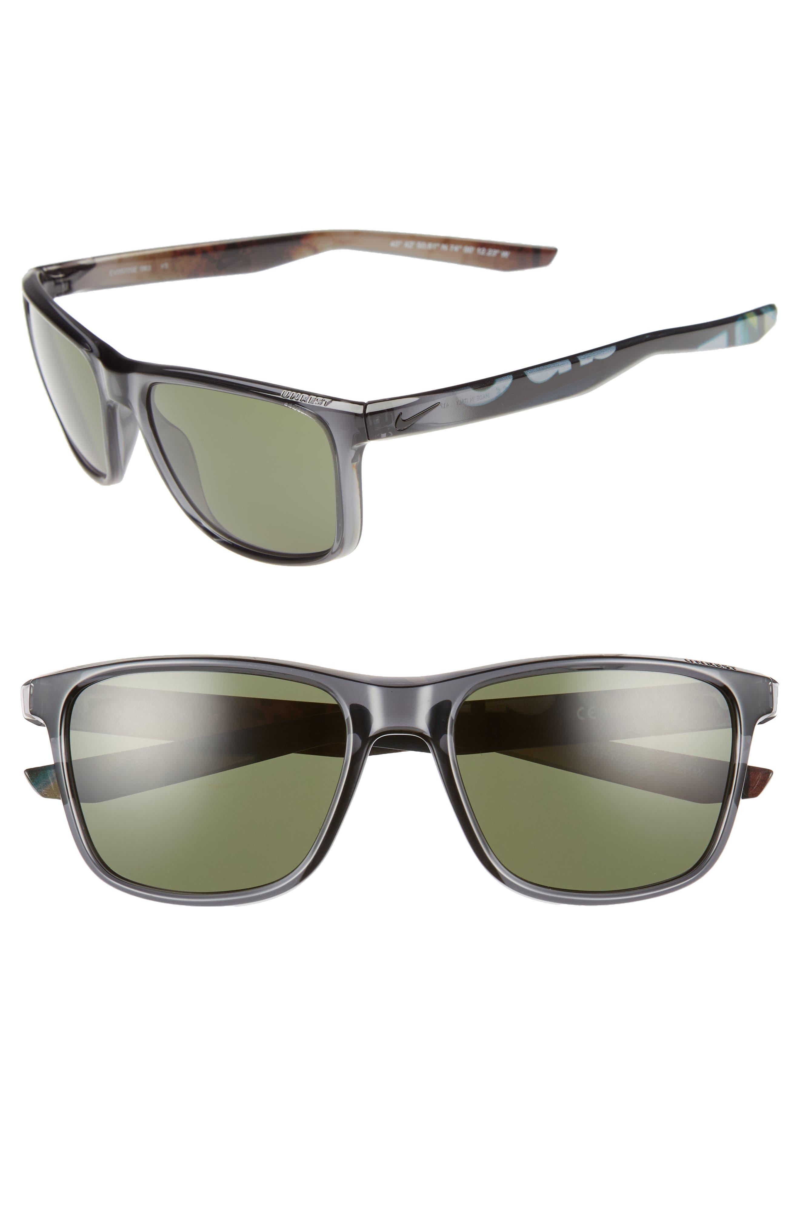 NIKE, Unrest 57mm Sunglasses, Alternate thumbnail 2, color, MATTE OBSIDIAN/ GREY SILVER