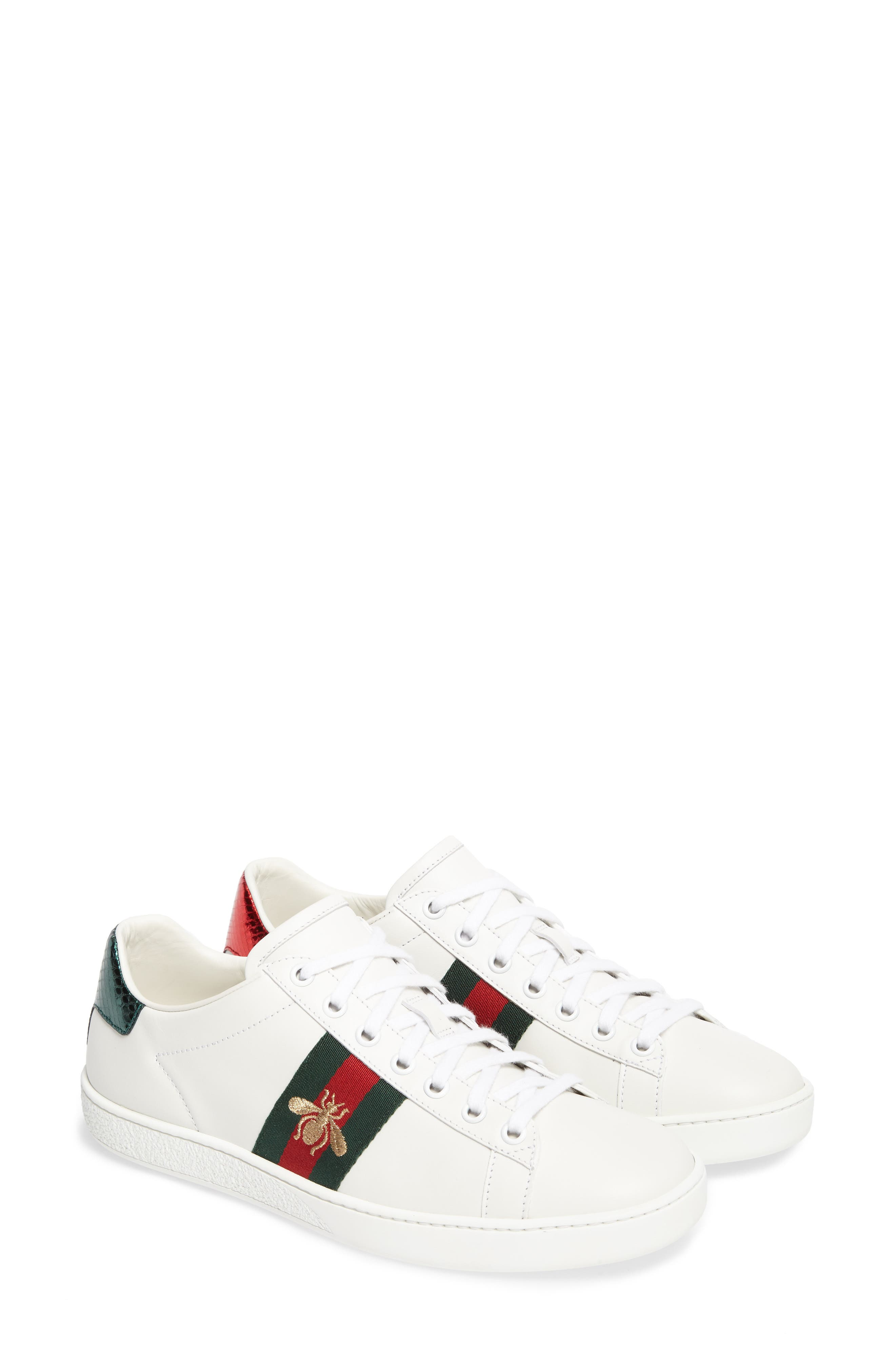 GUCCI, New Ace Sneaker, Main thumbnail 1, color, WHITE LEATHER