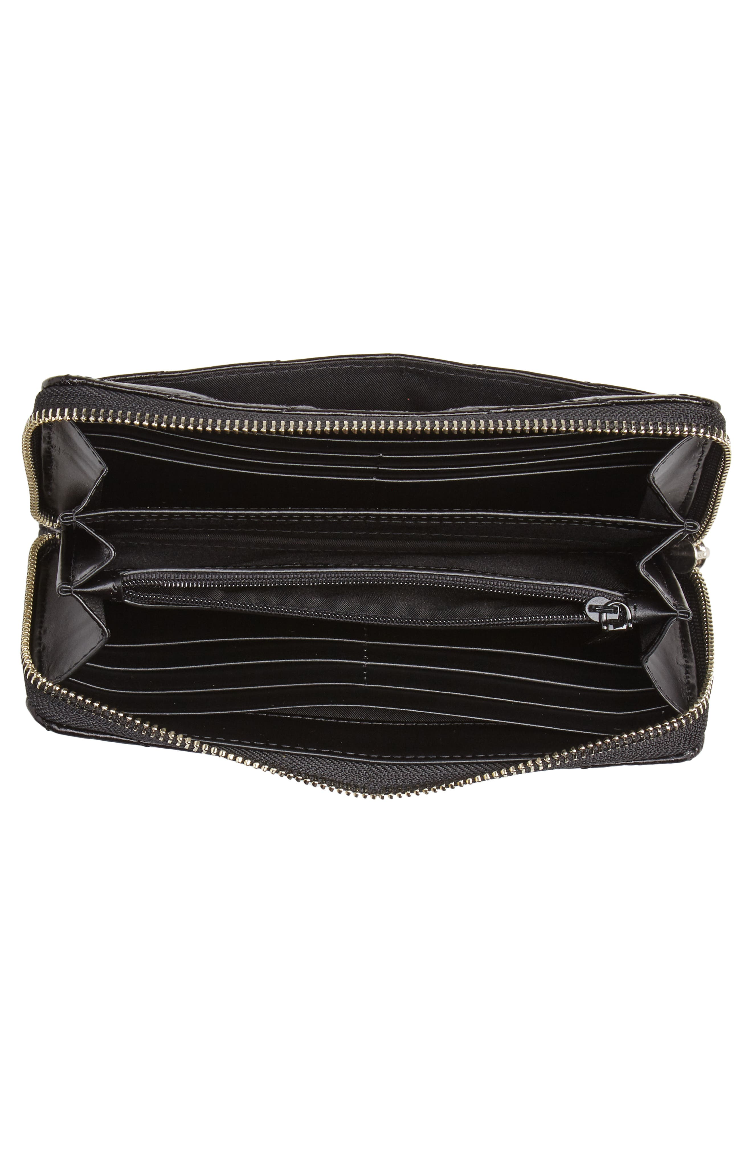 REBECCA MINKOFF, Quilted Wallet, Alternate thumbnail 4, color, BLACK