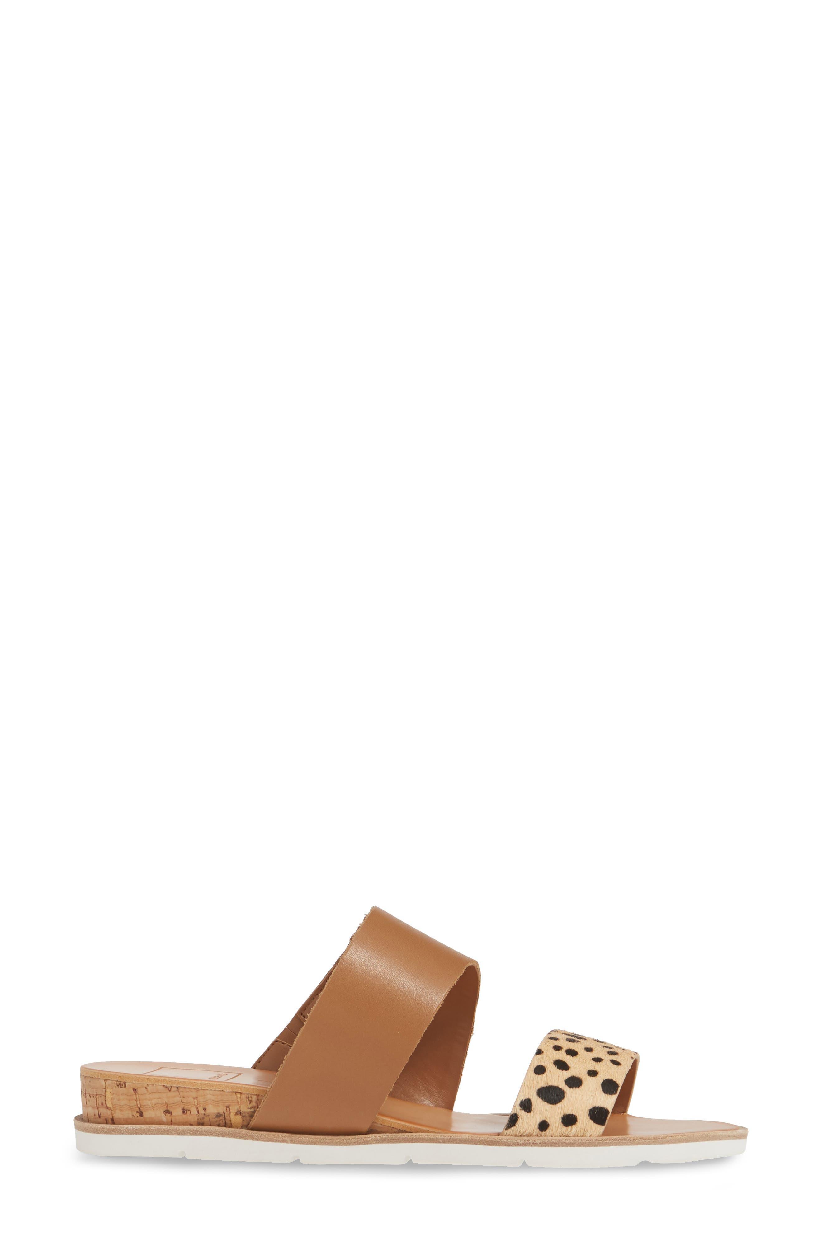 DOLCE VITA, Vala Wedge Slide Sandal, Alternate thumbnail 3, color, LEOPARD CALF HAIR