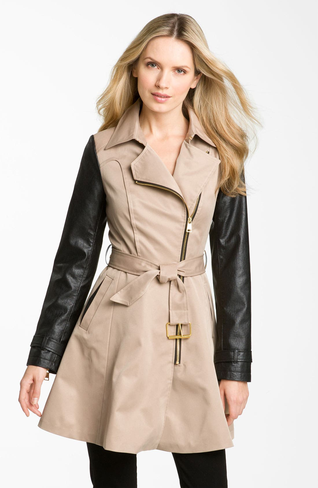 BEBE, Mixed Media Trench Coat, Main thumbnail 1, color, 250