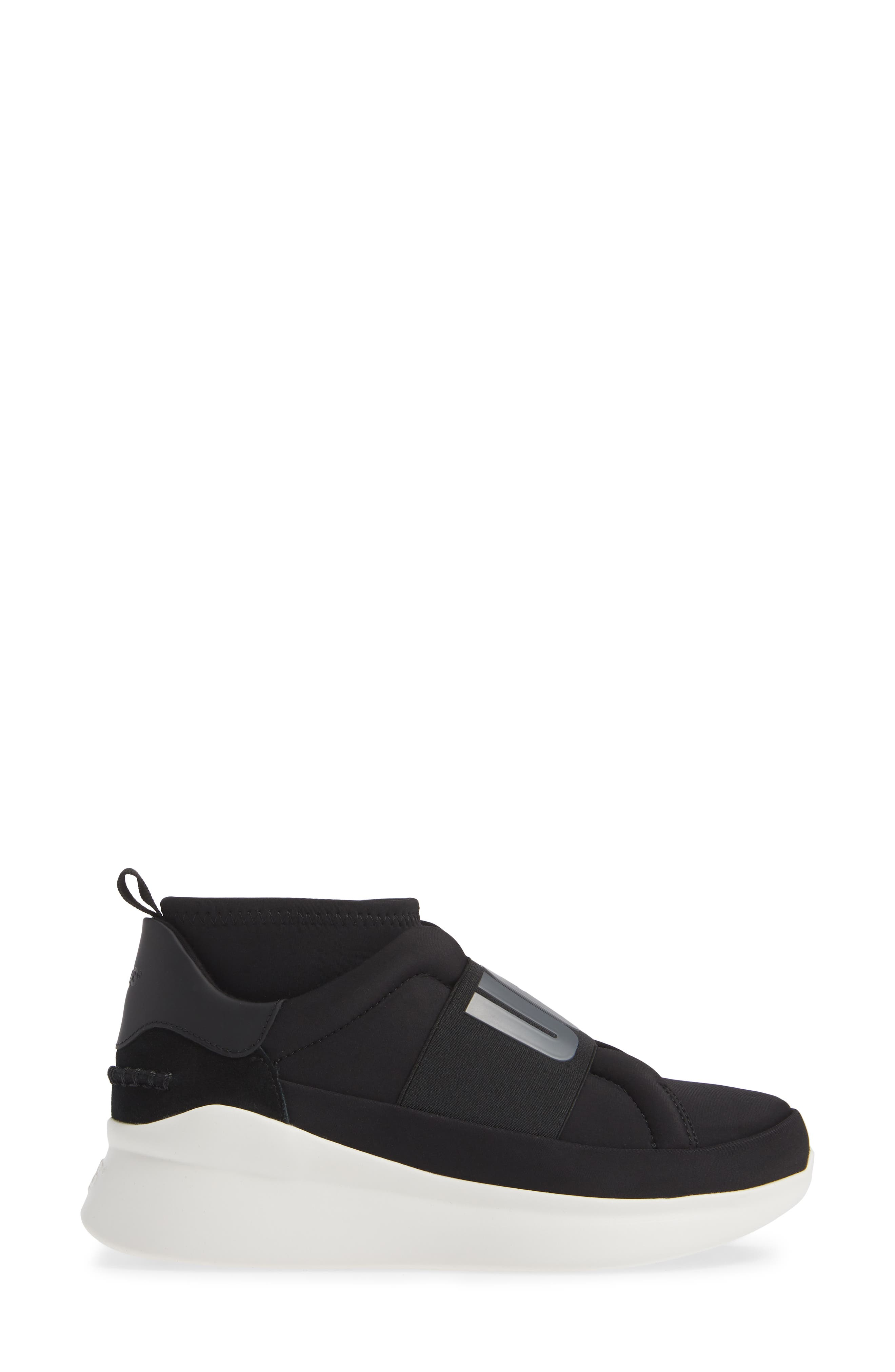UGG<SUP>®</SUP>, Neutra Sock Sneaker, Alternate thumbnail 3, color, BLACK