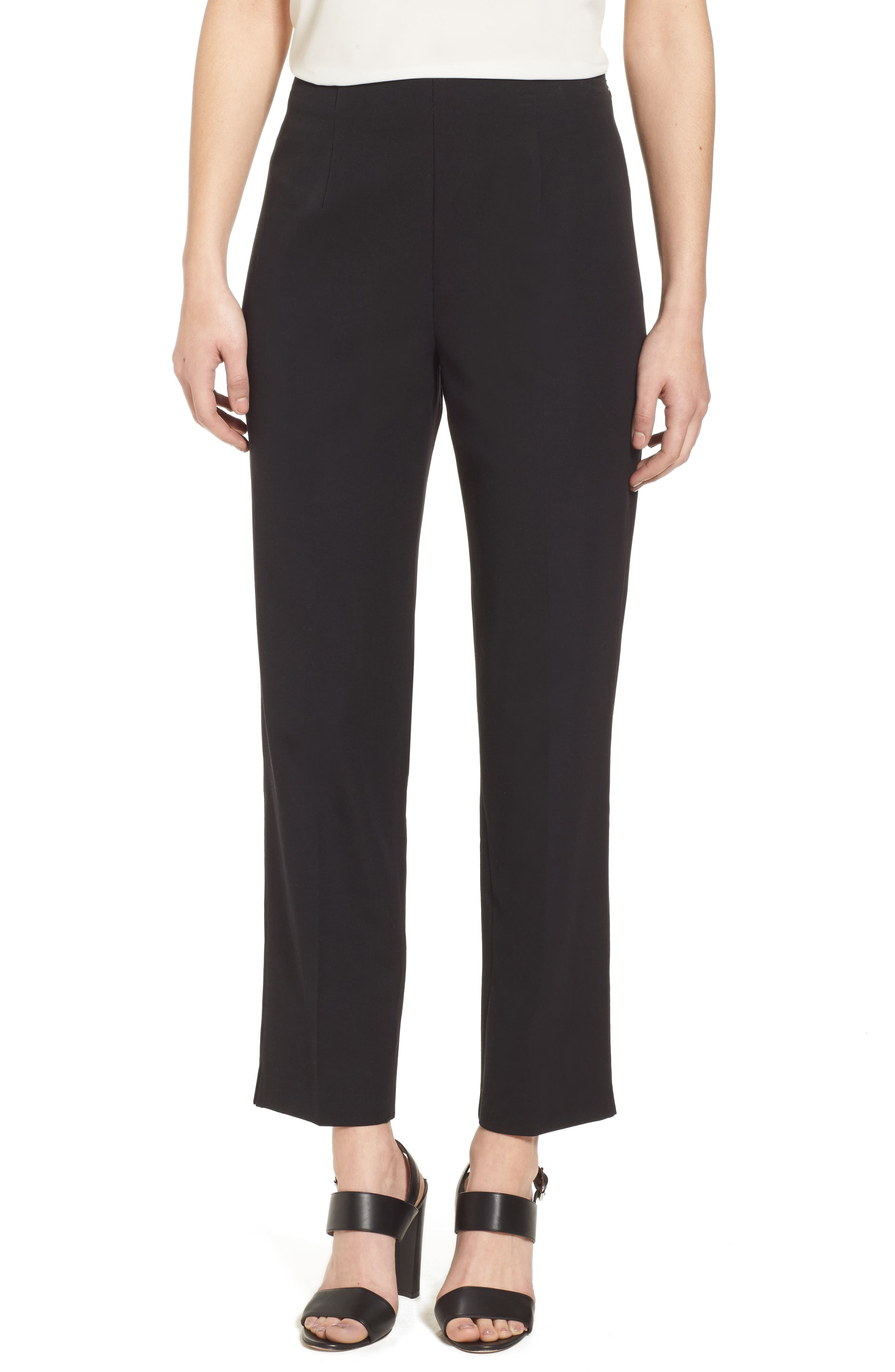 MING WANG Woven Slim Ankle Pants, Main, color, BLACK