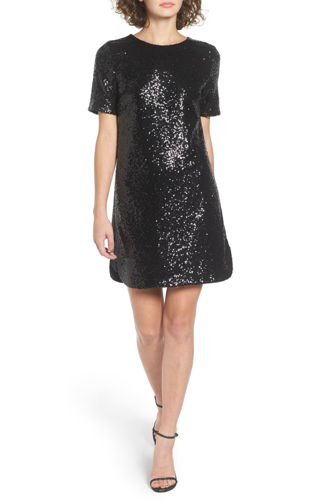 SOPRANO, Sequin T-Shirt Dress, Main thumbnail 1, color, 001