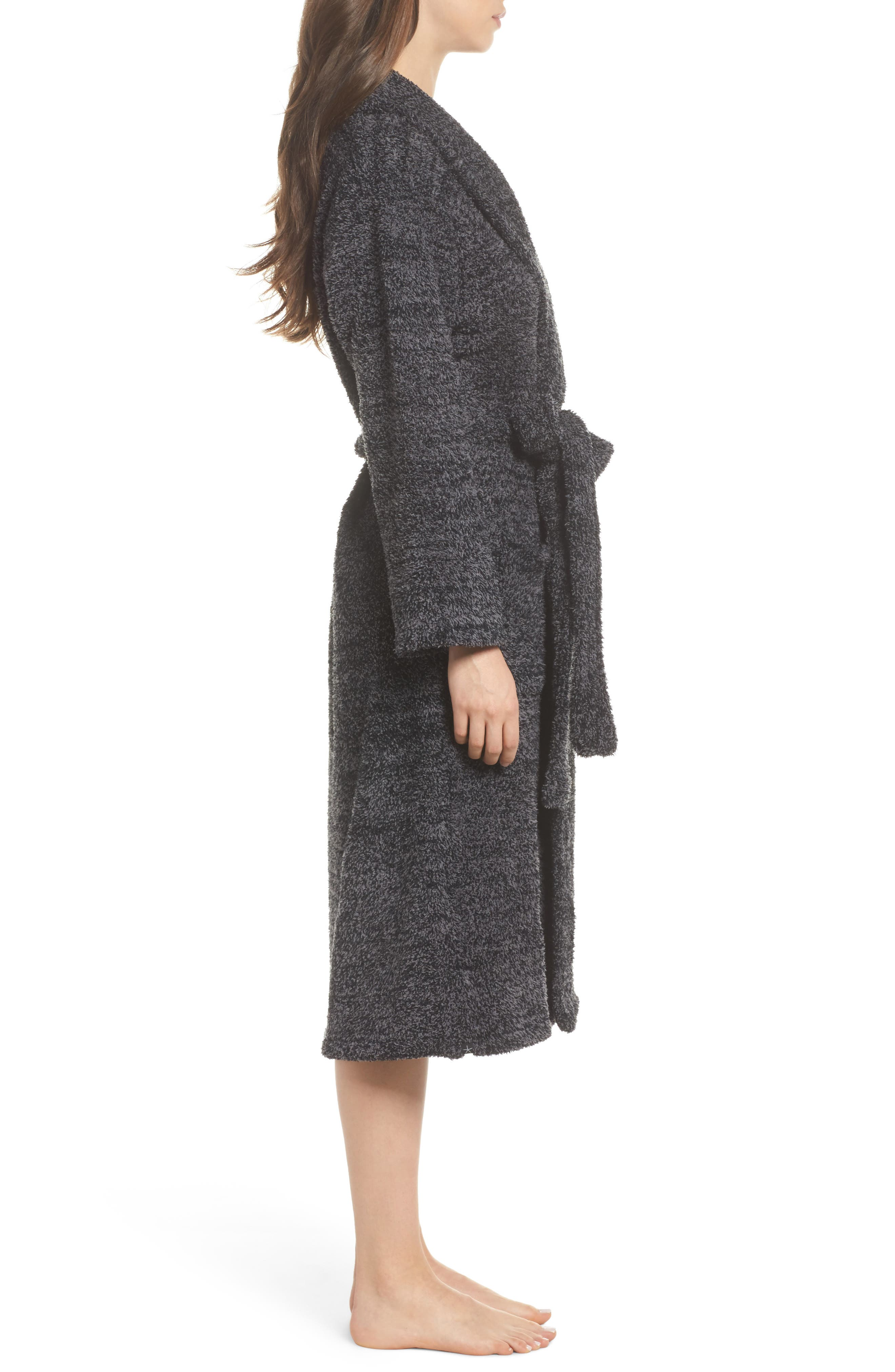 BAREFOOT DREAMS<SUP>®</SUP>, CozyChic<sup>®</sup> Robe, Alternate thumbnail 3, color, BLACK/ GRAPHITE