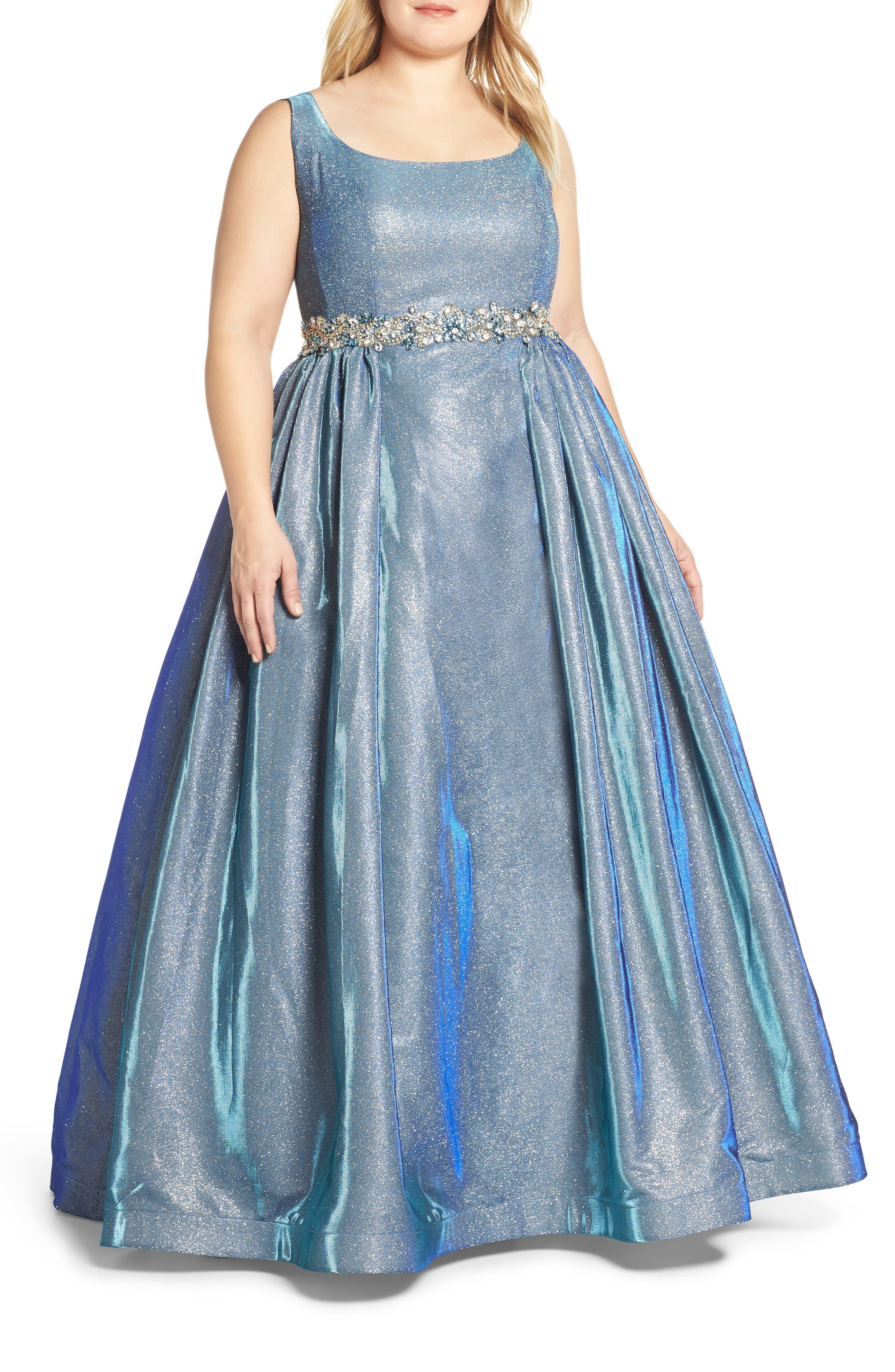 MAC DUGGAL, Jeweled Waist Metallic Evening Dress, Main thumbnail 1, color, BLUE