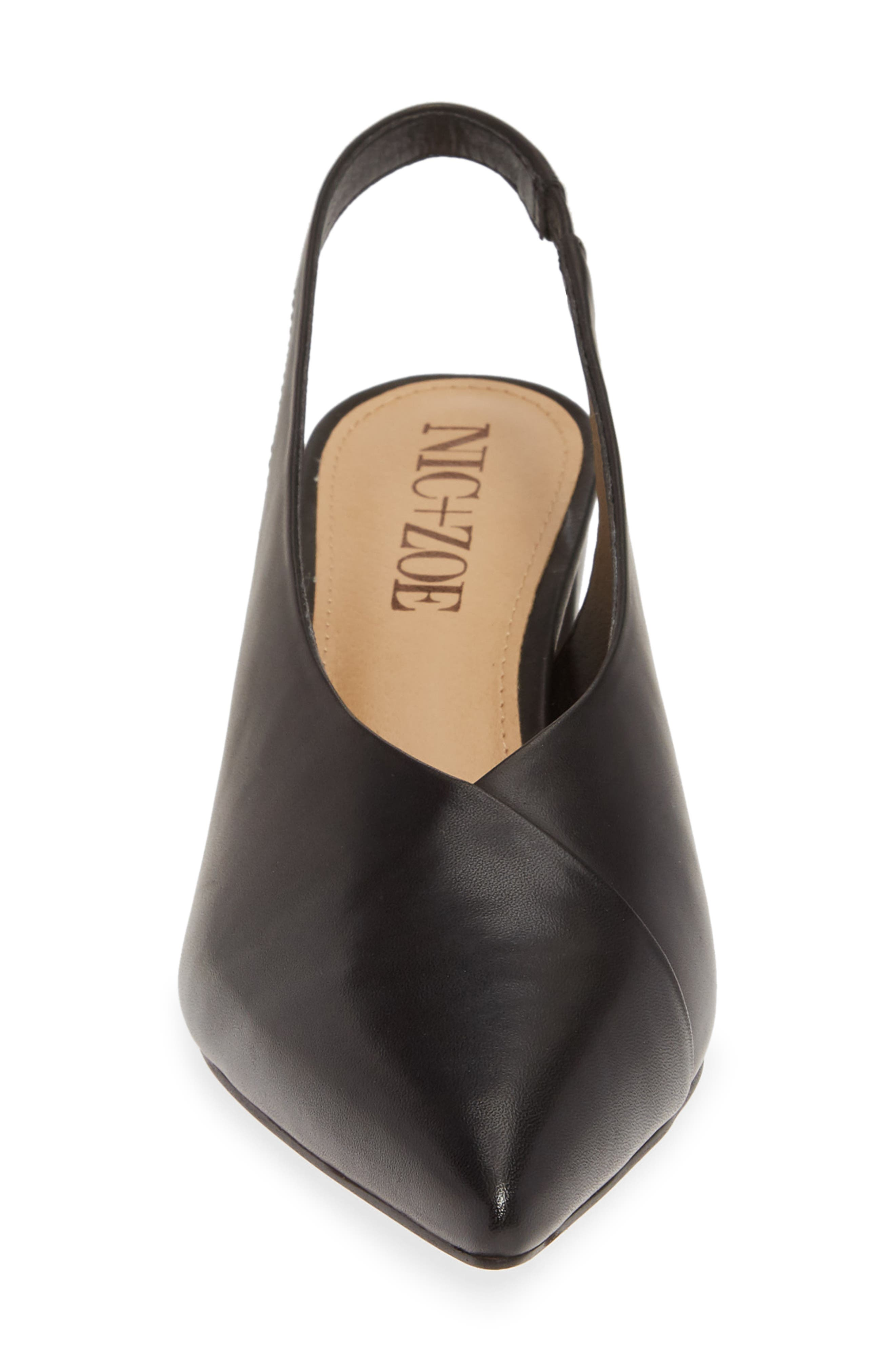 NIC+ZOE, Camille Slingback Pointy Toe Pump, Alternate thumbnail 4, color, BLACK LEATHER